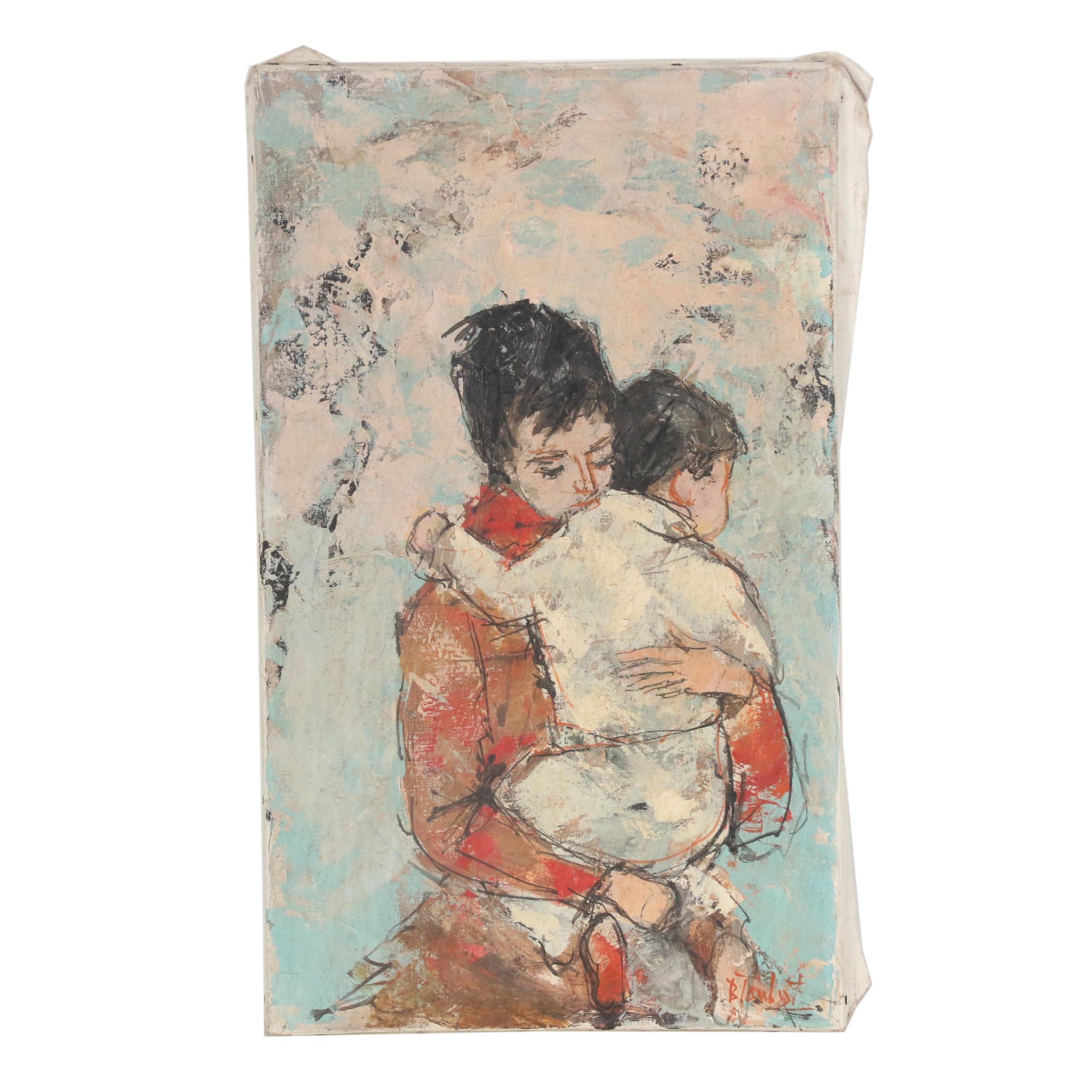 """Bertoldo Taubert Oil Painting """"Jeune Femme avec Infant"""""""