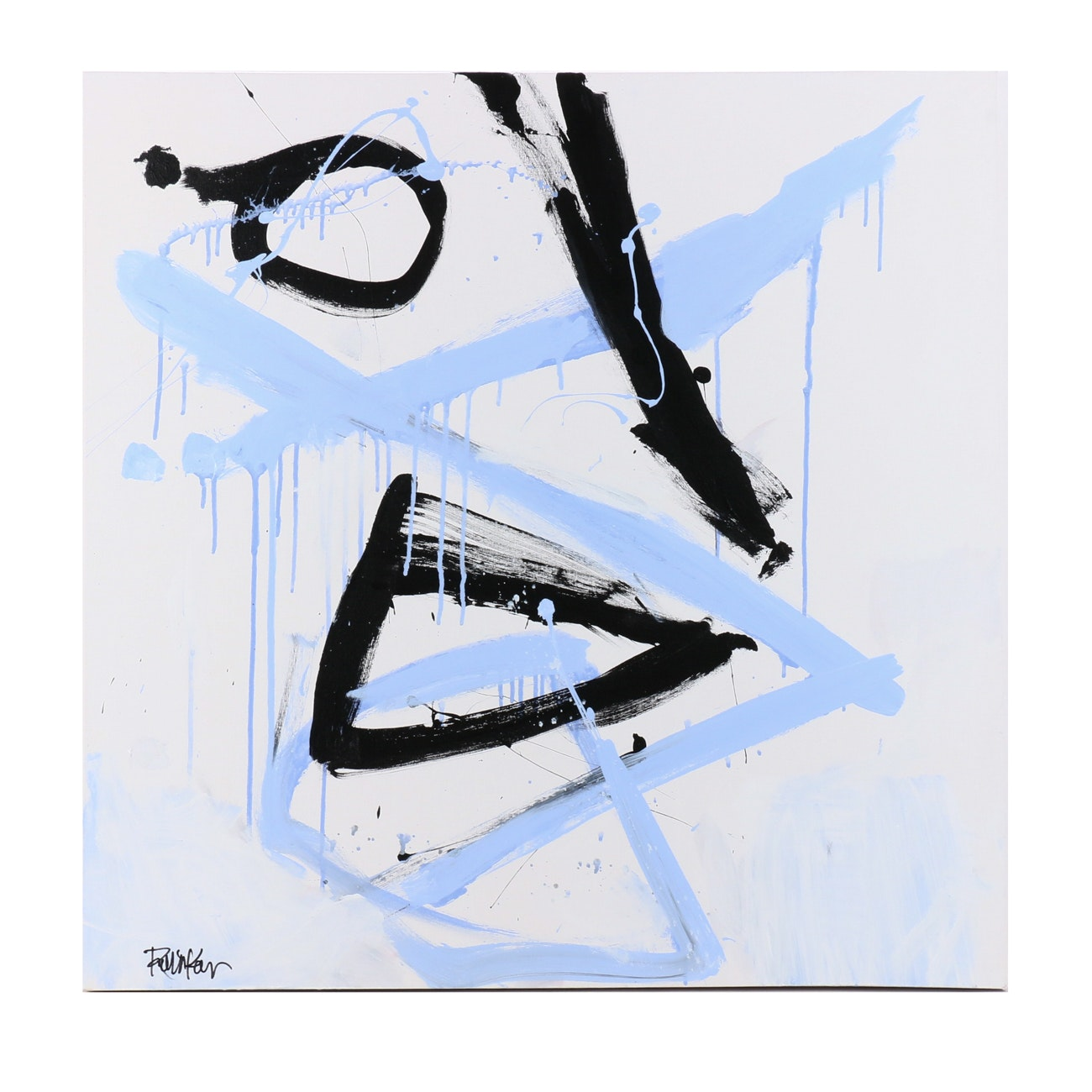 "Robbie Kemper Abstract Acrylic Painting ""Blue Black White"""