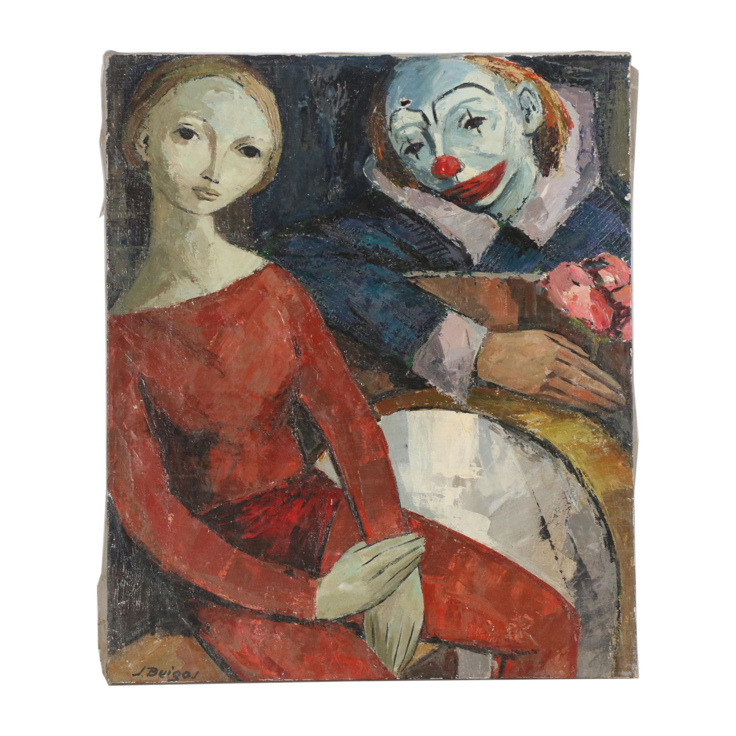 Jose Buigas Oil Painting of Woman and Clown