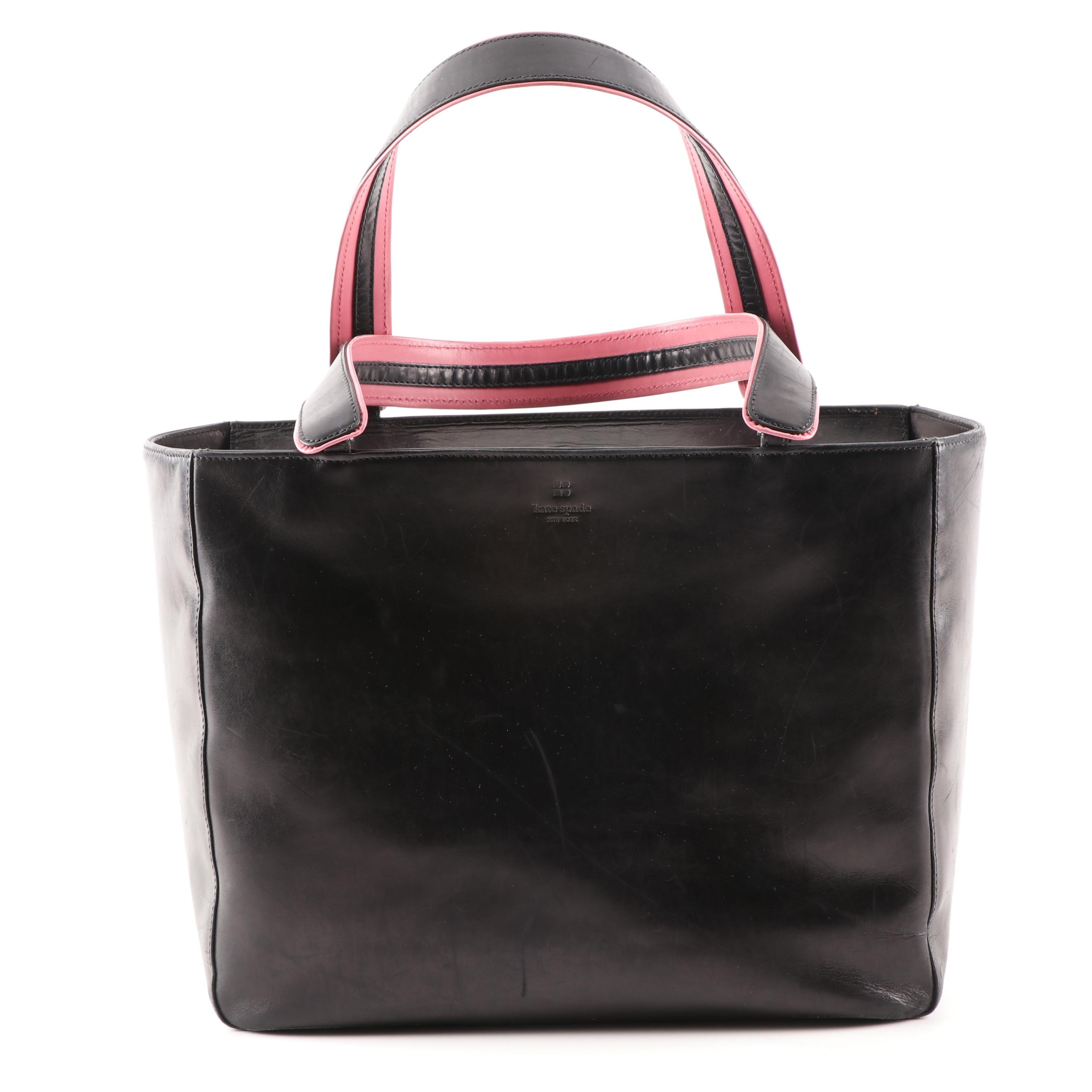 Kate Spade New York Black Leather Tote Bag Trimmed in Pink