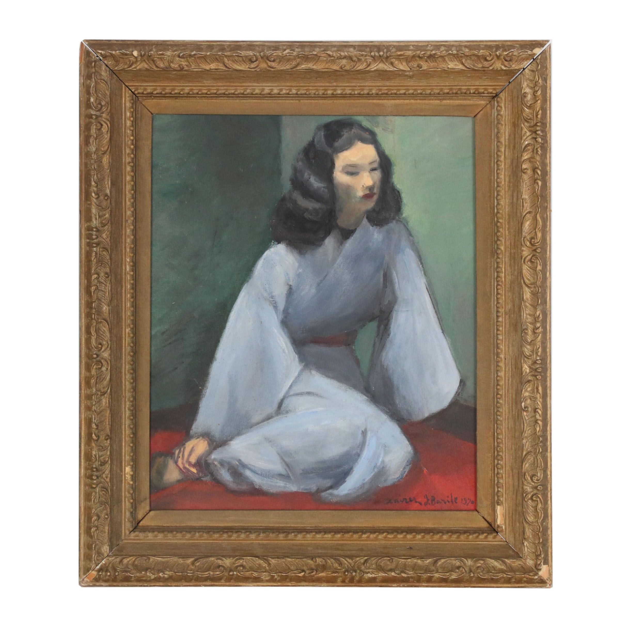 Xavier J. Barile 1910 Oil Painting of Seated Woman