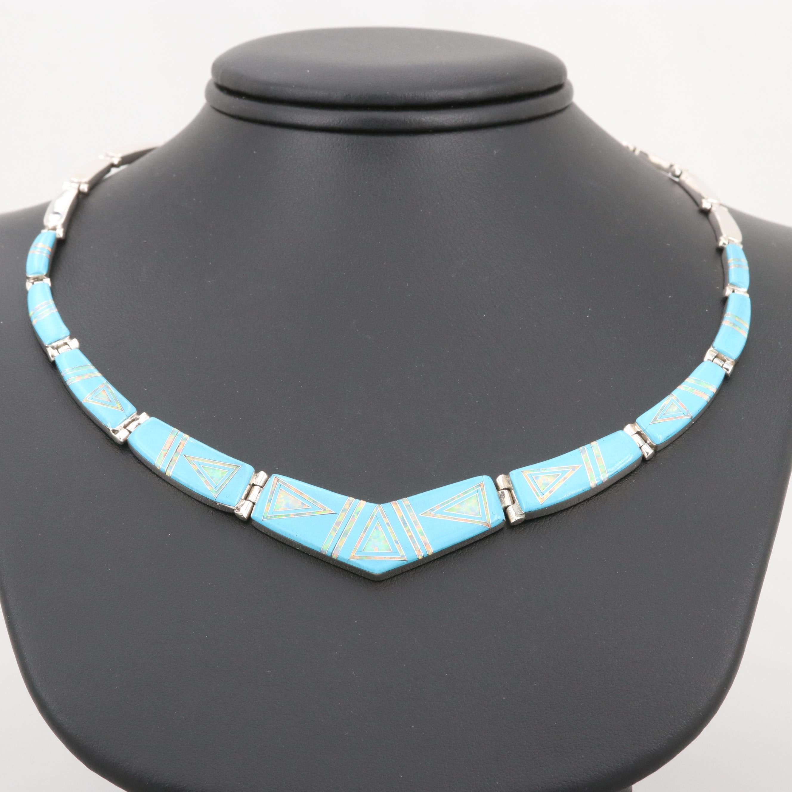 Southwestern Style Sterling Imitation Turquoise and Synthetic Opal Necklace