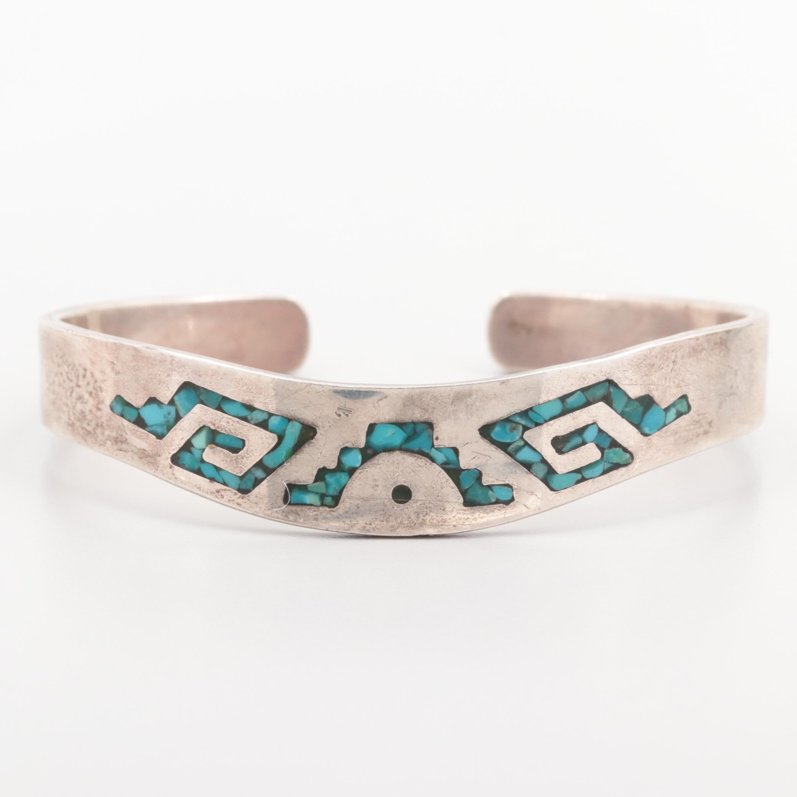 Mexican Sterling Silver Chipped Turquoise and Resin Inlay Cuff Bracelet