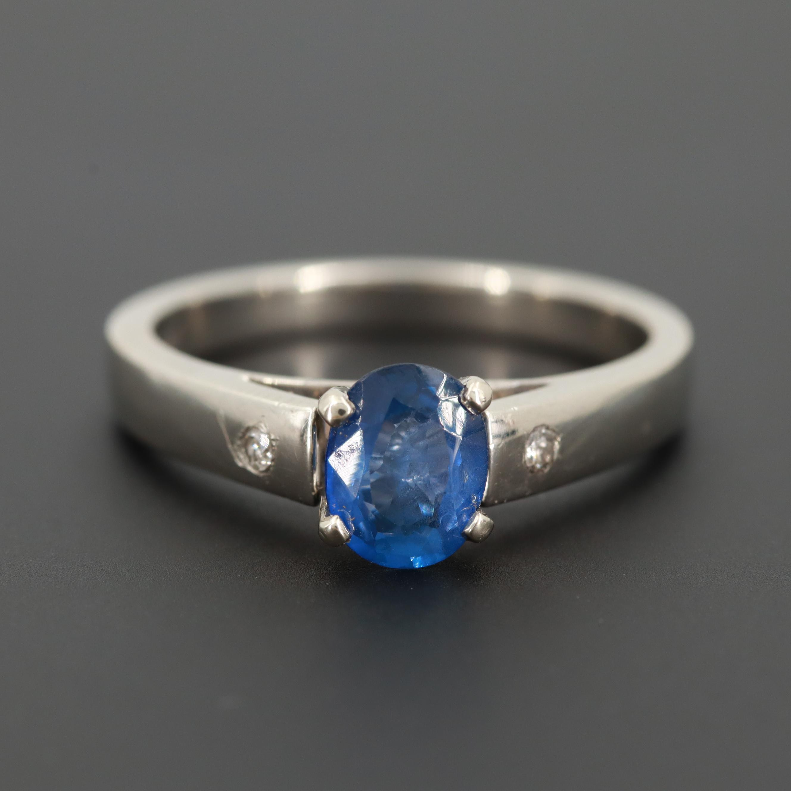 Zeghani 14K White Gold Sapphire and Diamond Ring