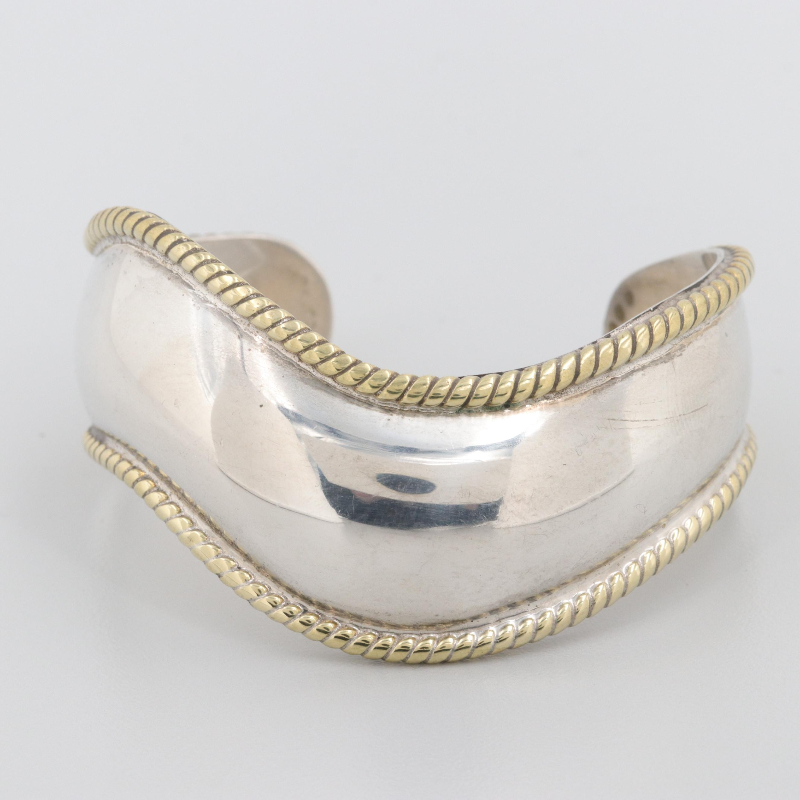 Taxco, Mexico Sterling Silver Cuff Bracelet with Gold Tone Accents