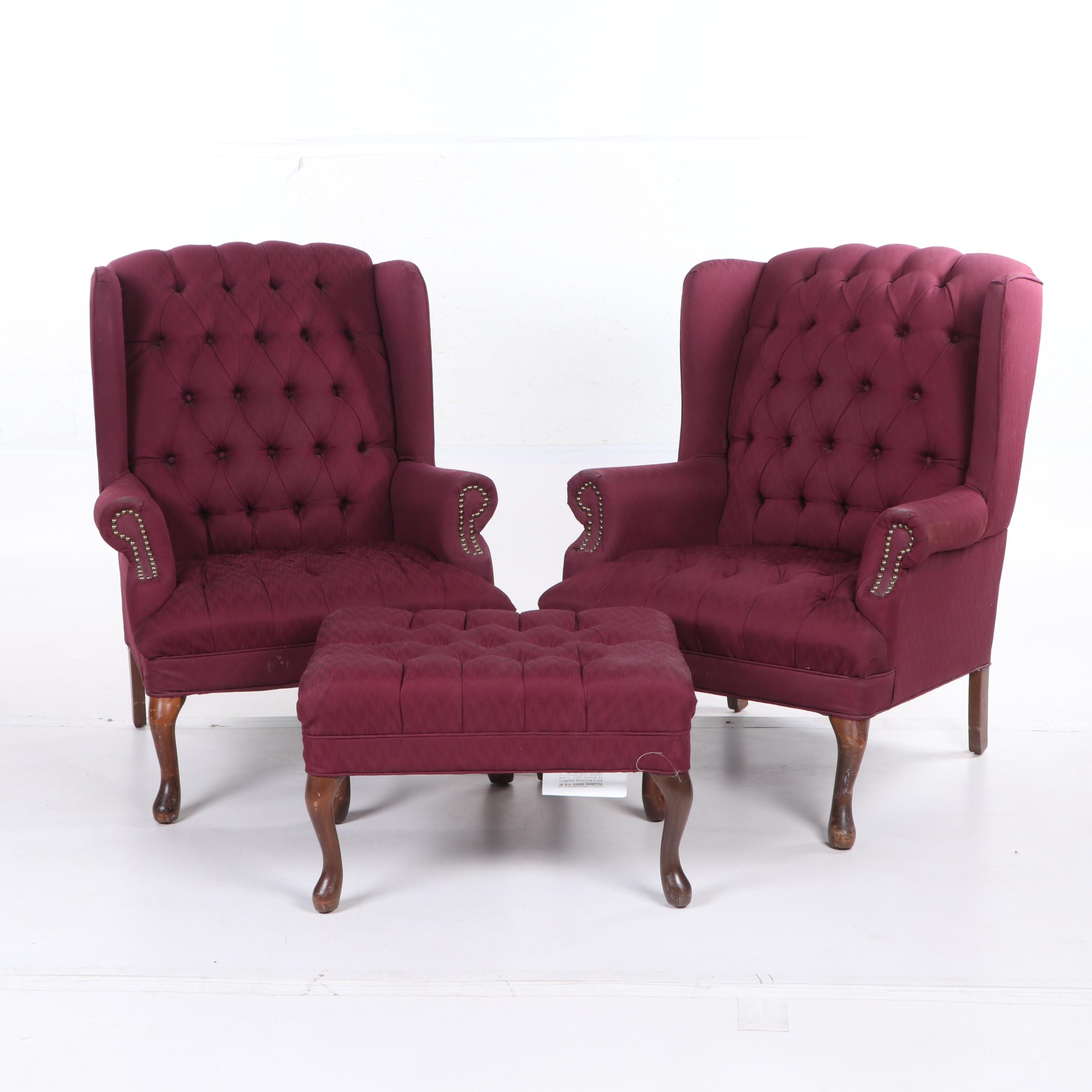 Queen Anne Style Tufted Wingback Chairs with Ottoman, Late 20th Century