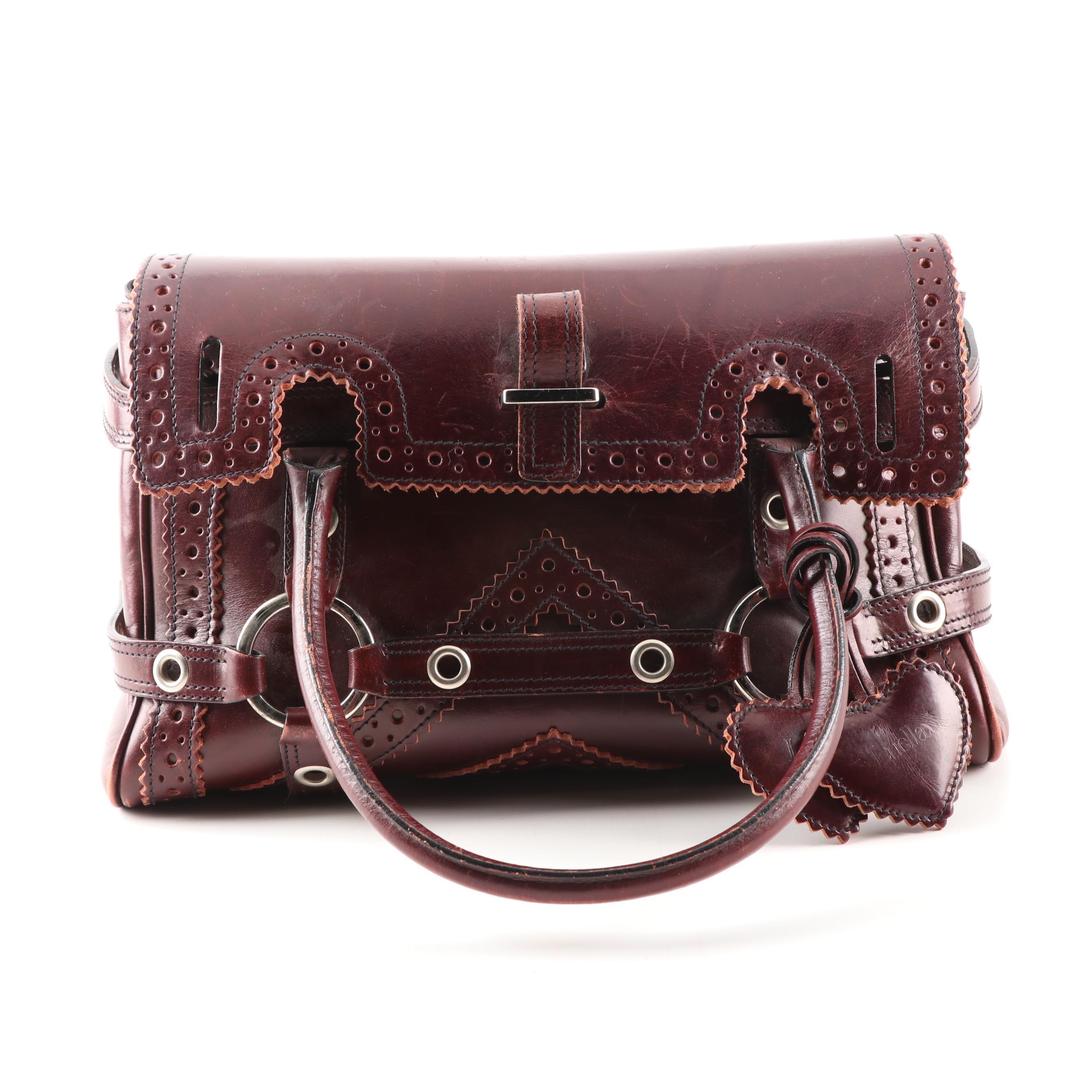 Luella Mahogany Leather Satchel Bag