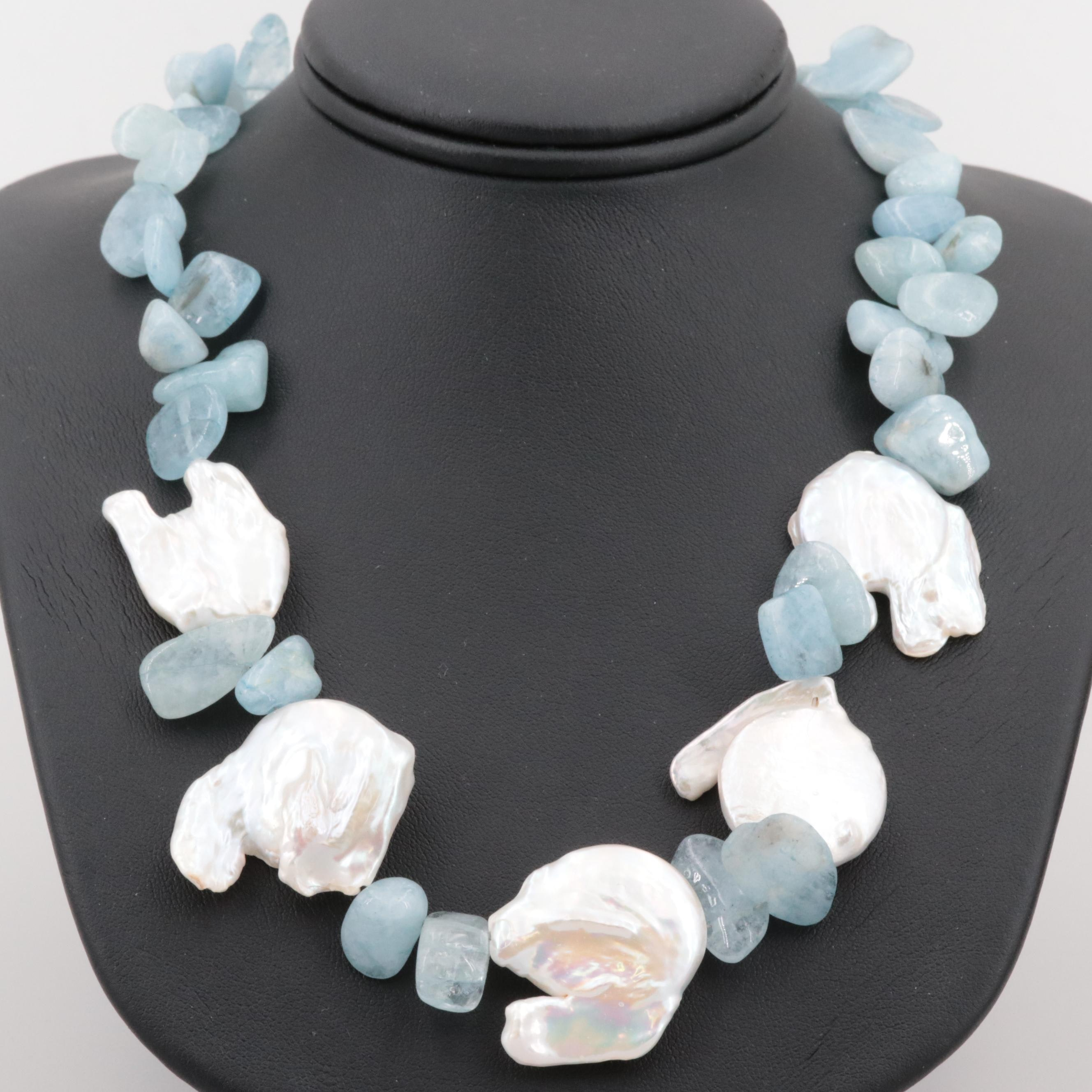 Sterling Silver Cultured Pearl and Blue Beryl Necklace