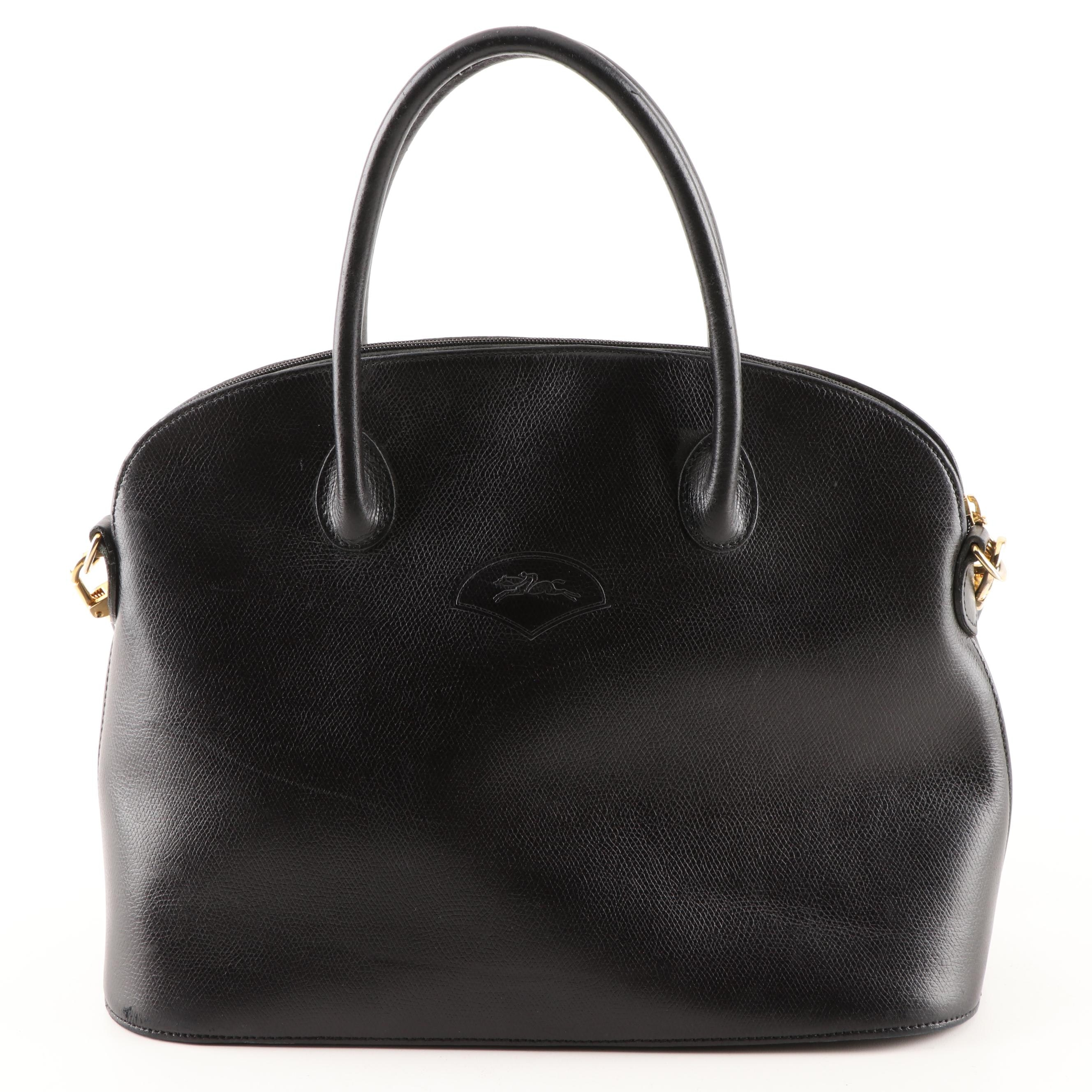 Longchamp Black Grained Leather Tote Bag