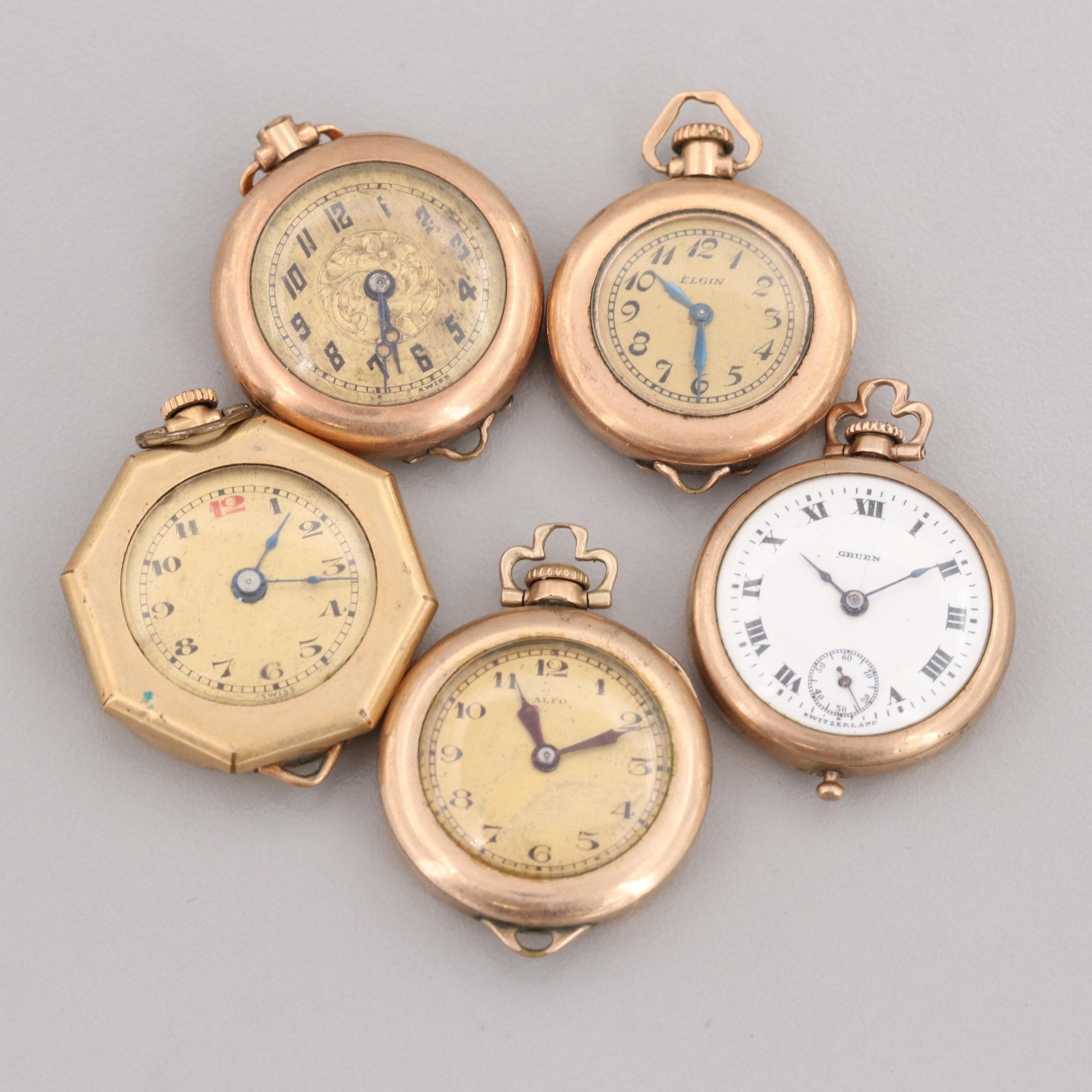 Assortment of Gold Filled Convertible Pocket Watches Featuring Gruen and Elgin
