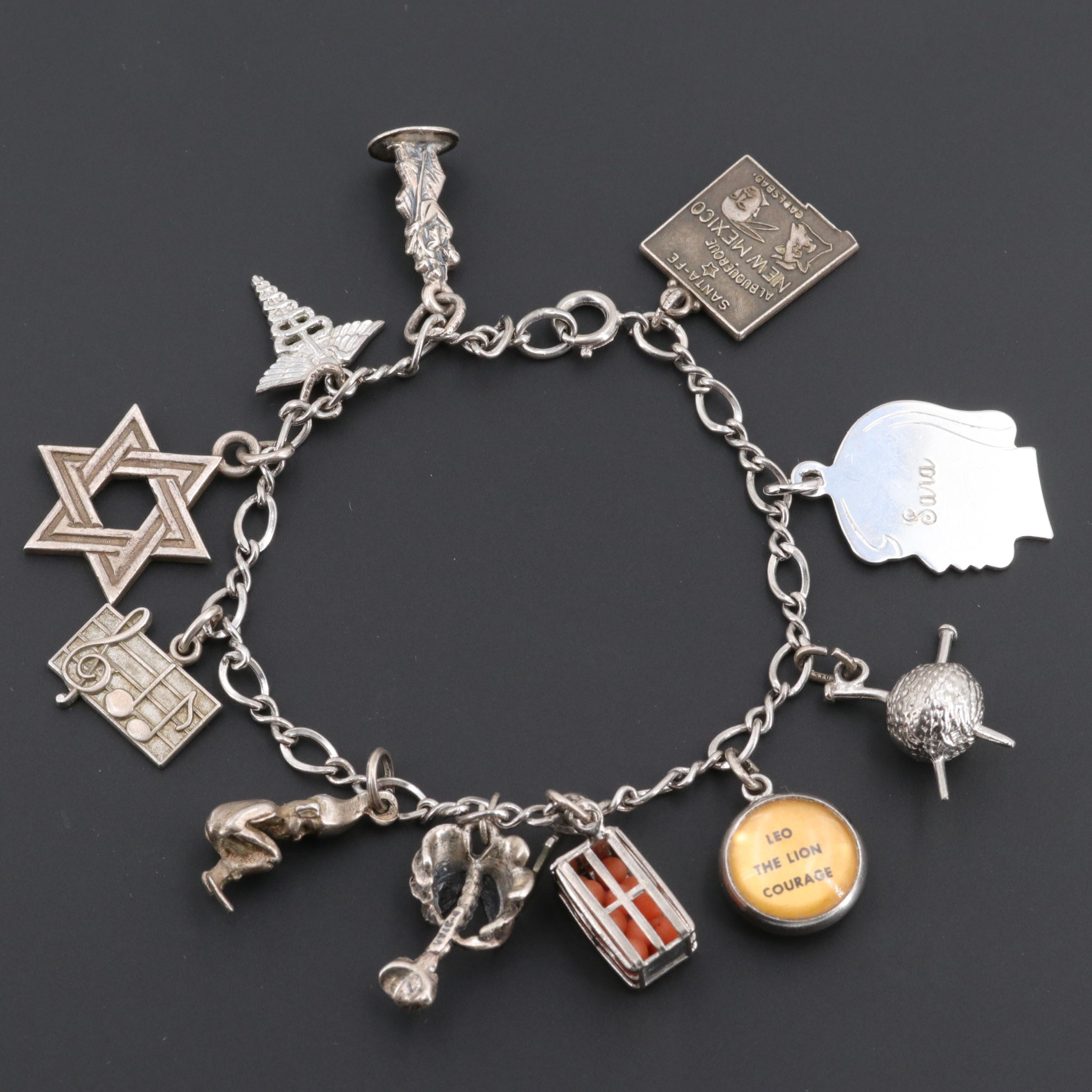 Wells Cellini Sterling Charm Bracelet Including Star Of David and Caduceus