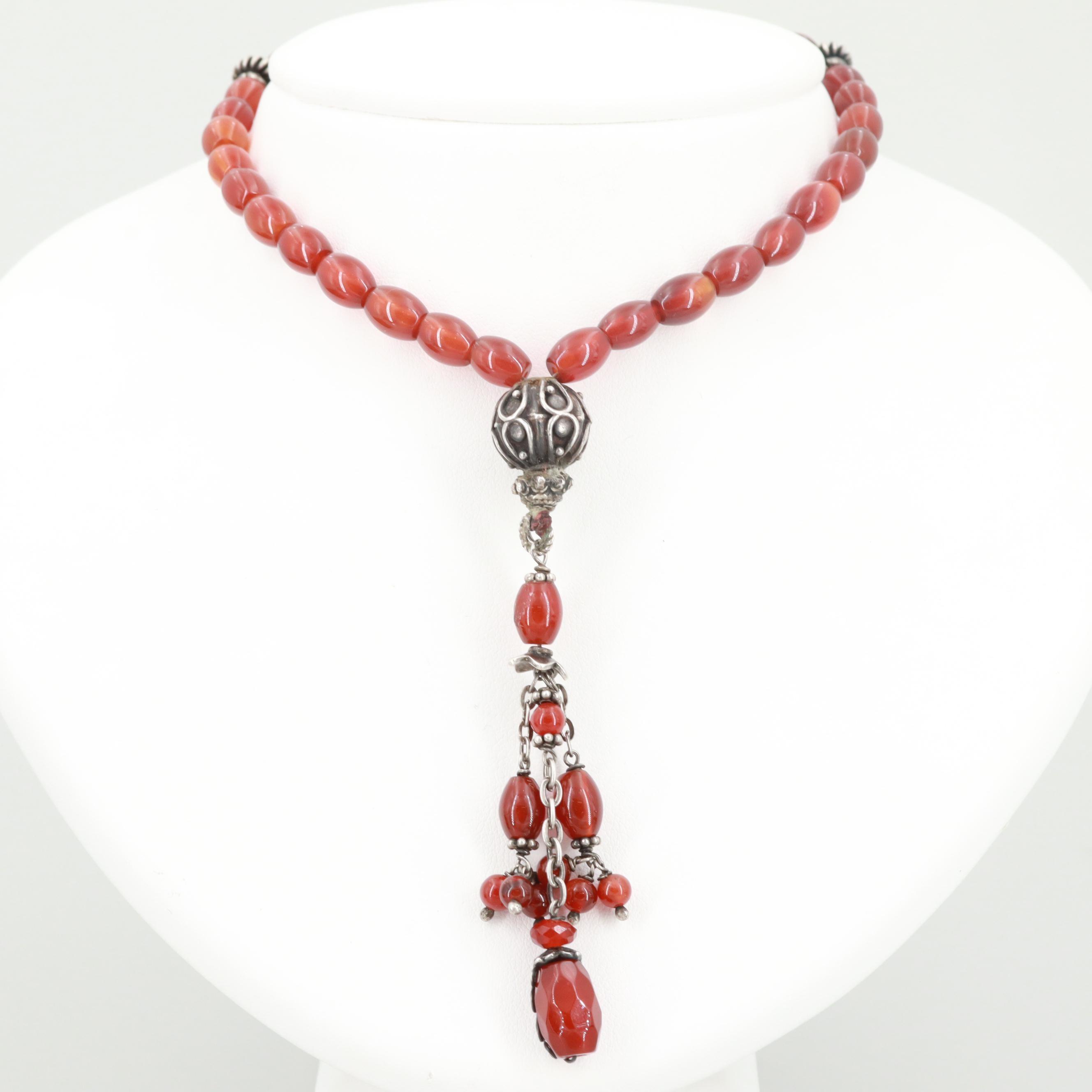 800 Silver and Silver Tone Carnelian Prayer Beads