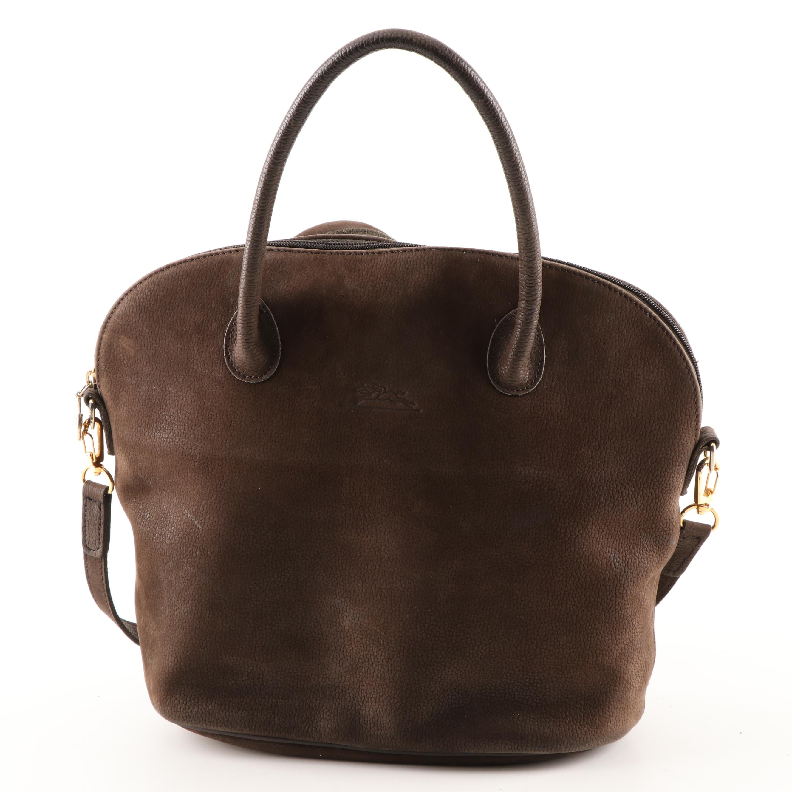 Longchamp Paris Brown Pebbled Suede Tote Bag with Crossbody Strap