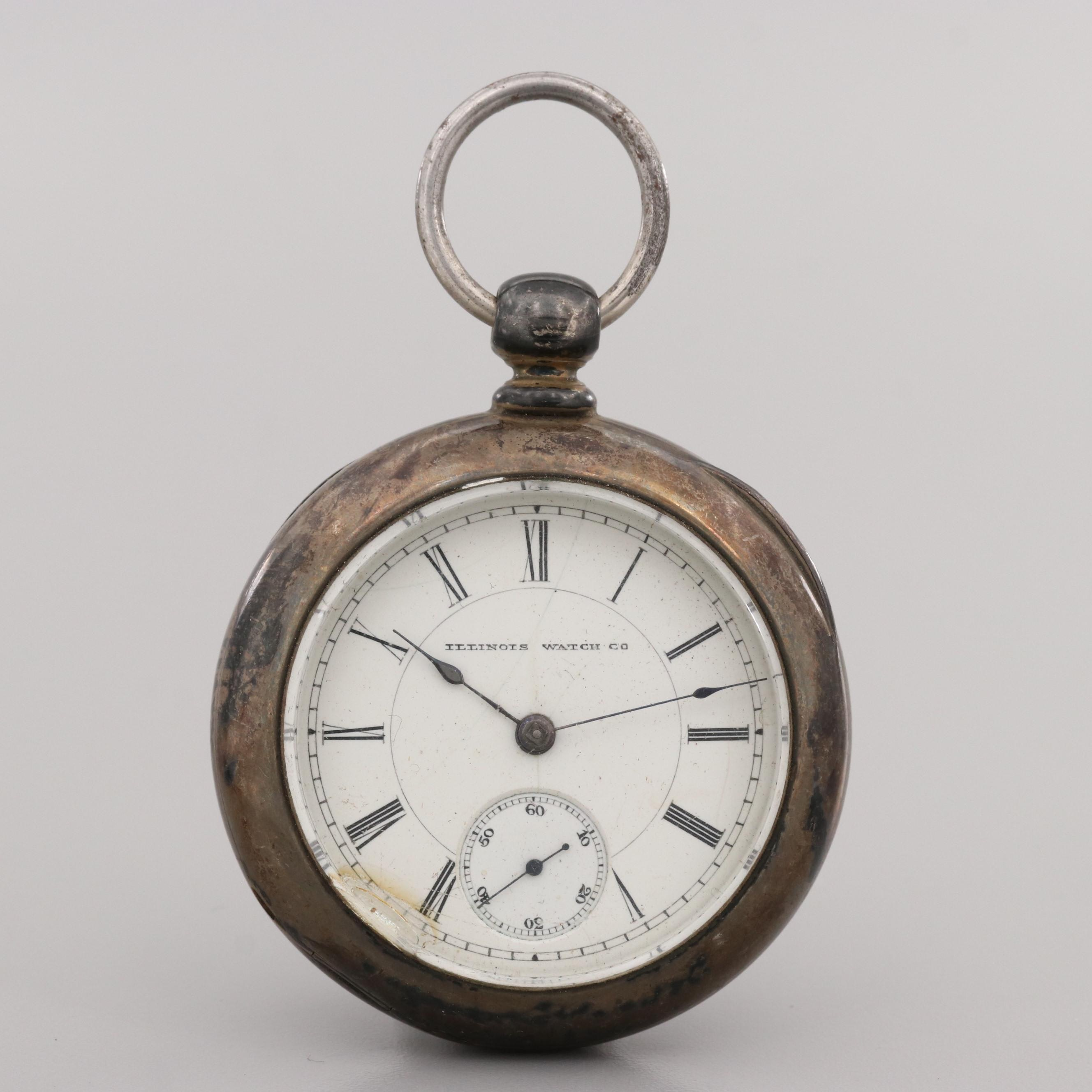 Antique Illinois Watch Co. Coin Silver Pocket Watch, 1887