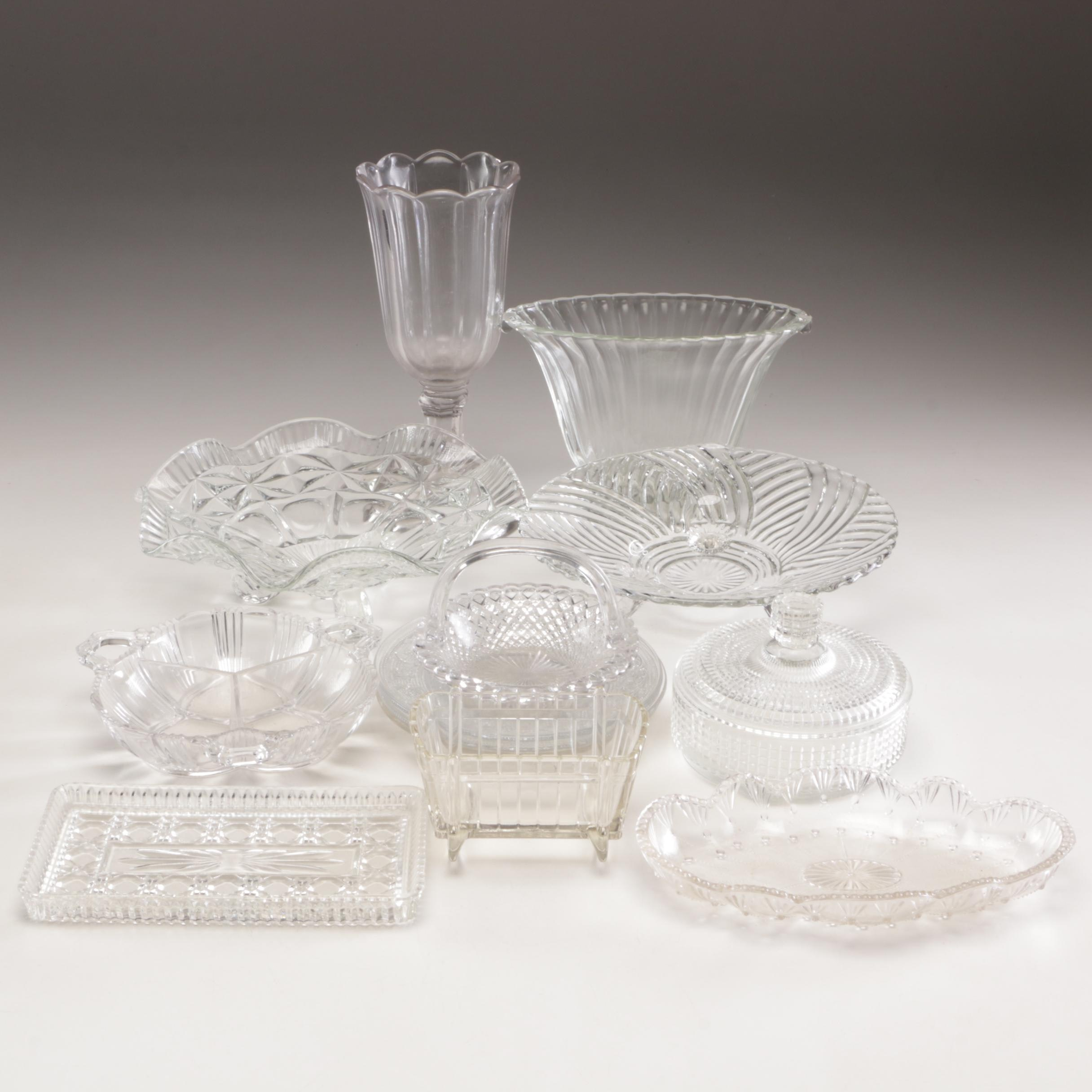 Group of Pressed Glass Vases, Bowls, and Decor