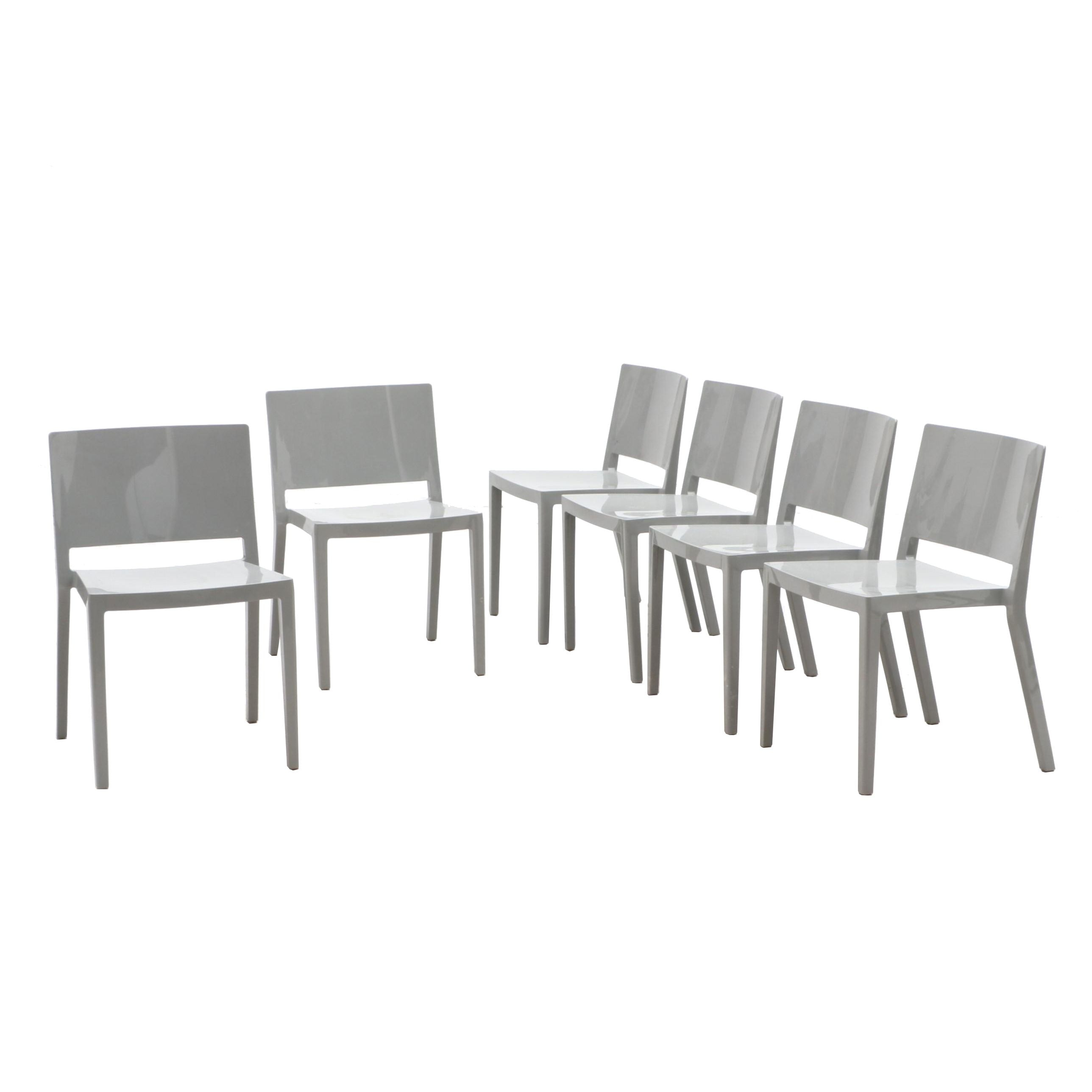 Modernist Molded Plastic Side Chairs in the Stye of Lissoni