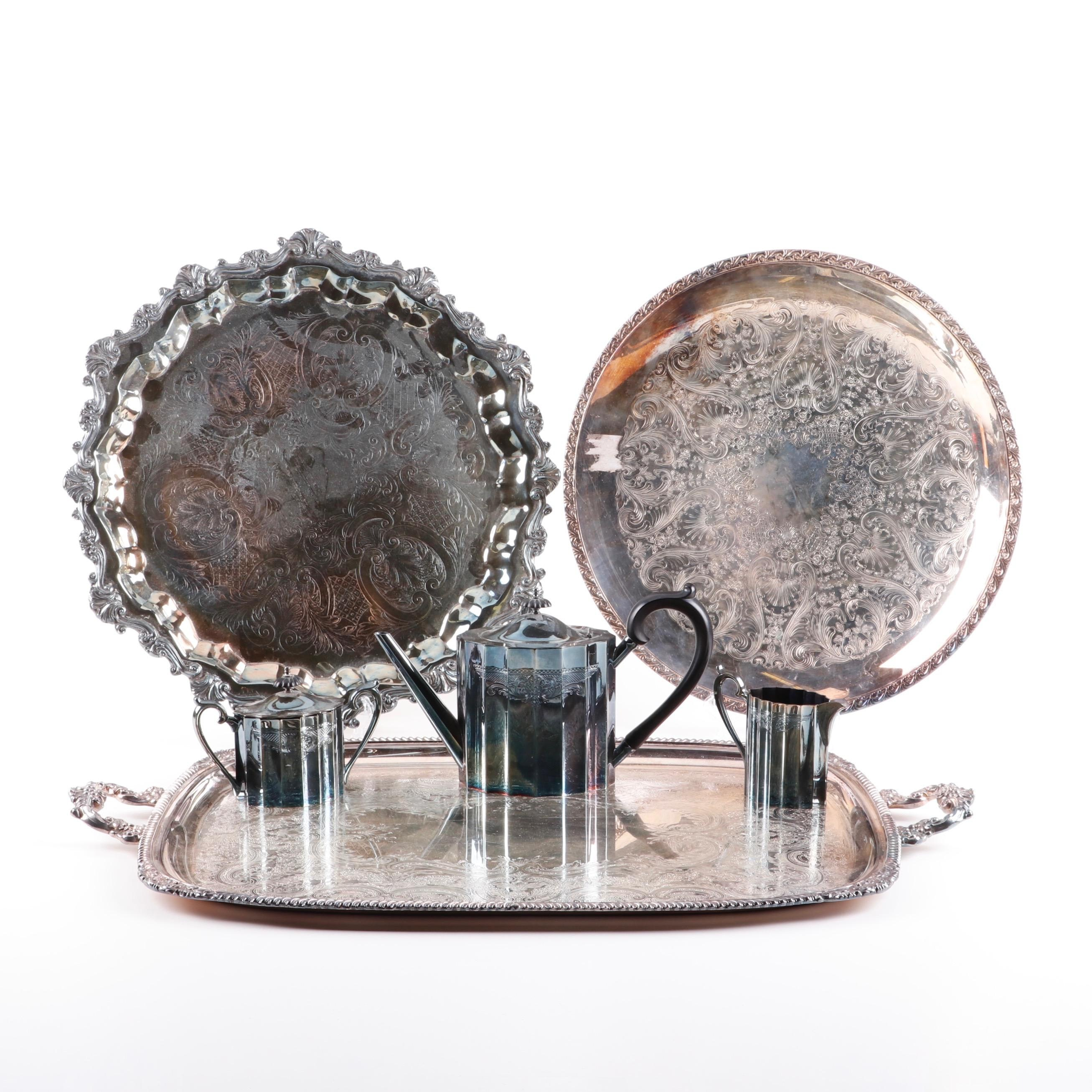 Silver Plate Serving Trays and Tea Set including Lunt and Sheridan
