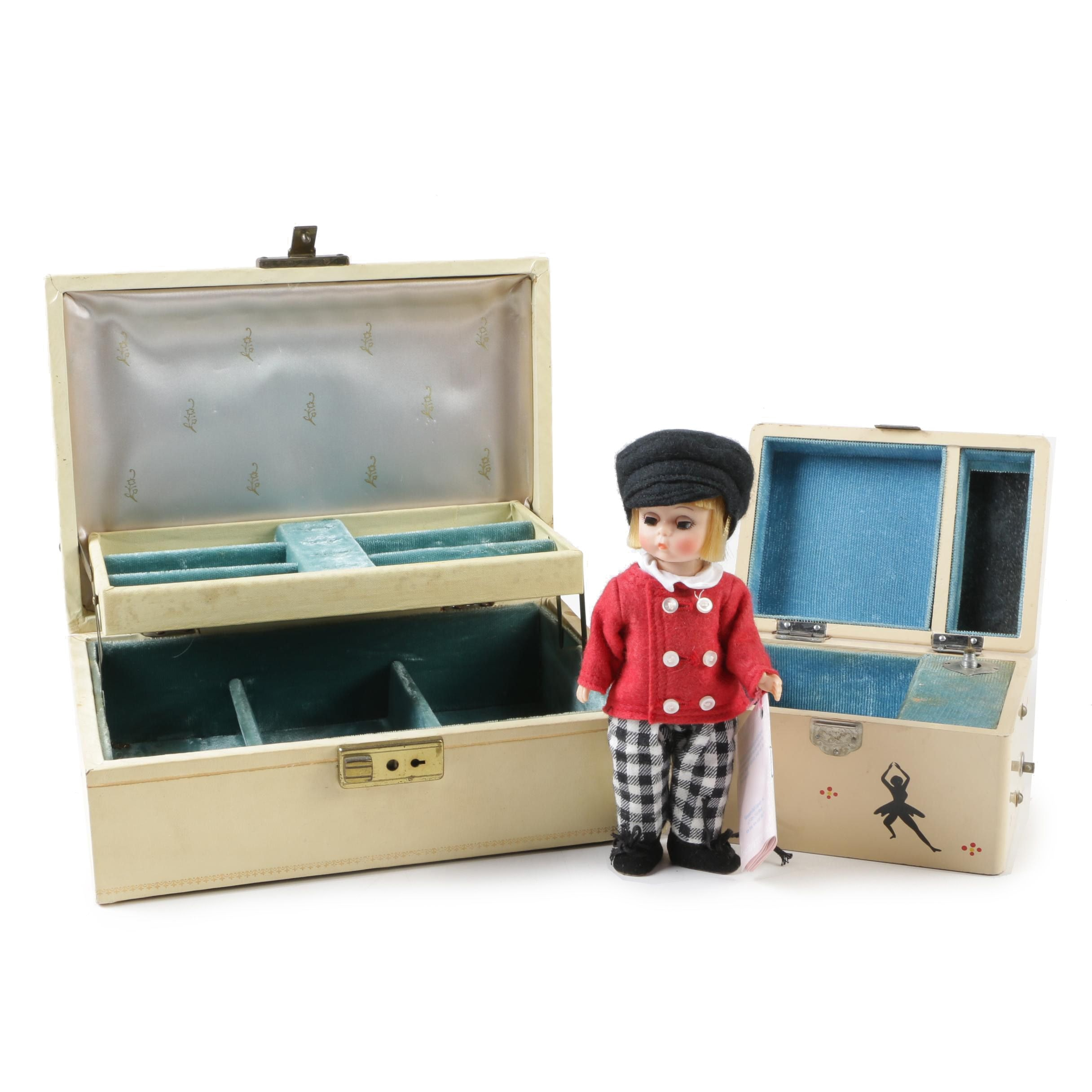 "Madame Alexander ""Tommy Snooks"" Doll with Jewelry Boxes"