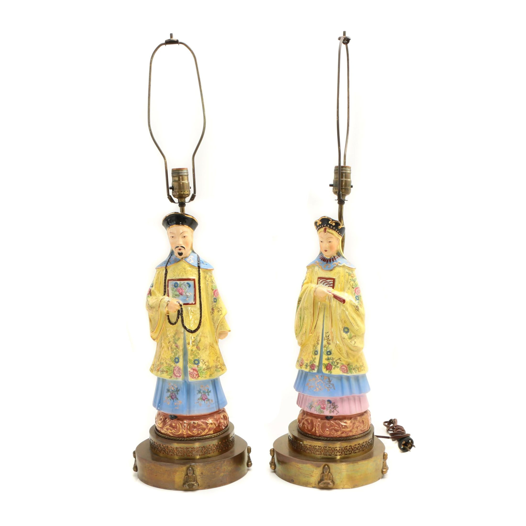 Chinese Emperor and Empress Figural Table Lamps, Mid-Century