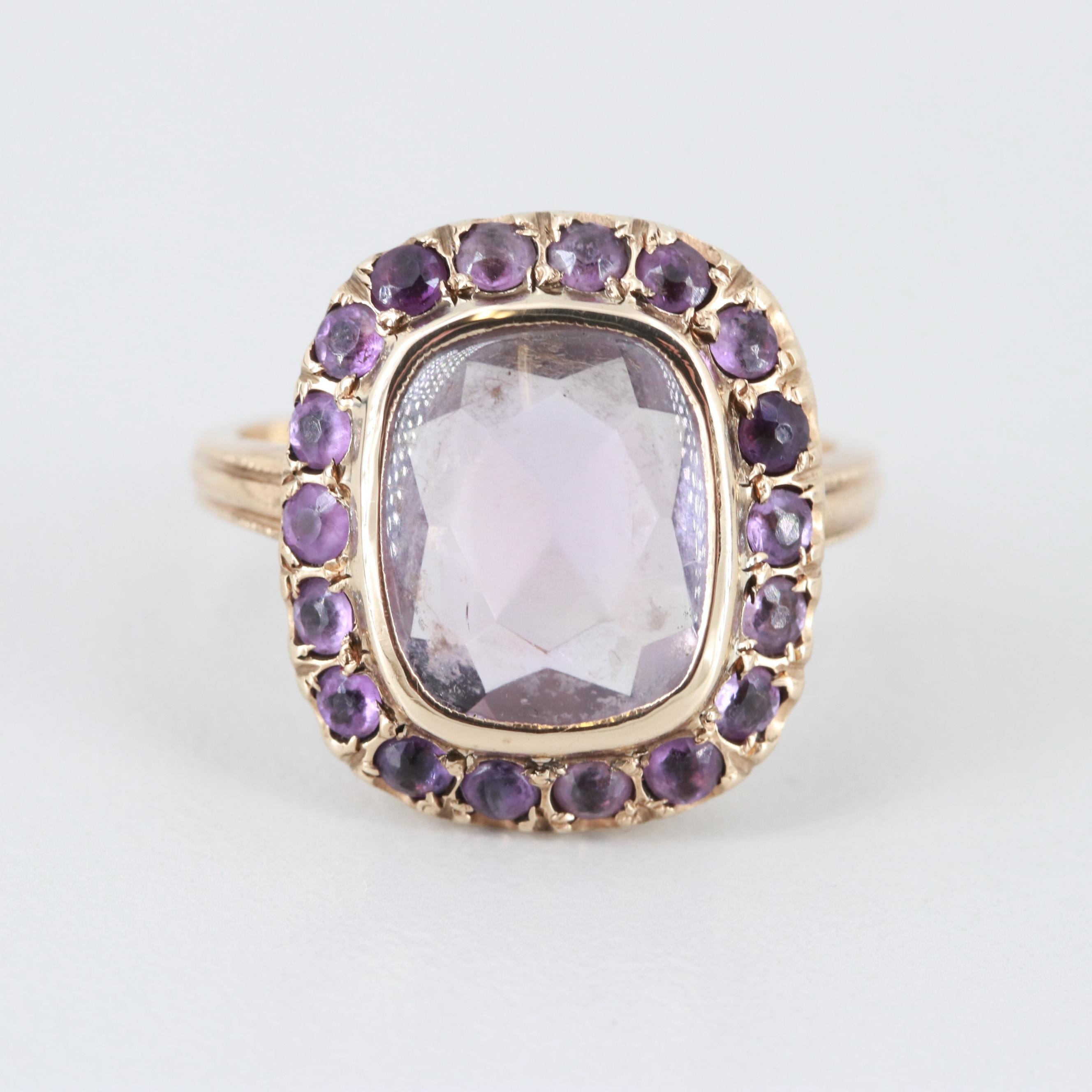 Vintage 10K Yellow Gold Amethyst Ring