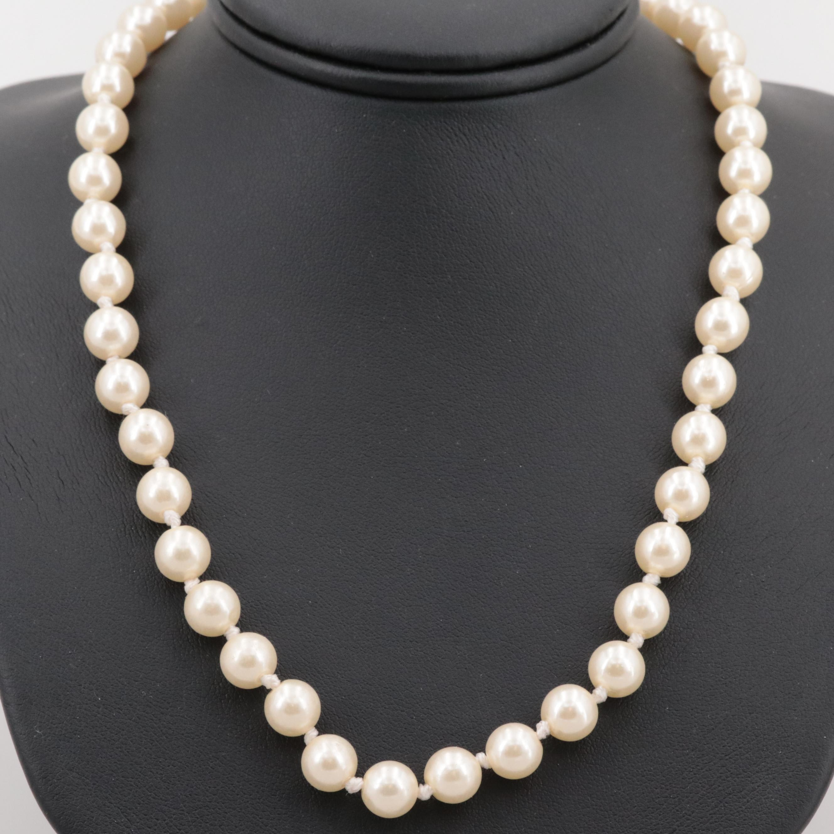 Gold Tone Imitation Pearl Necklace
