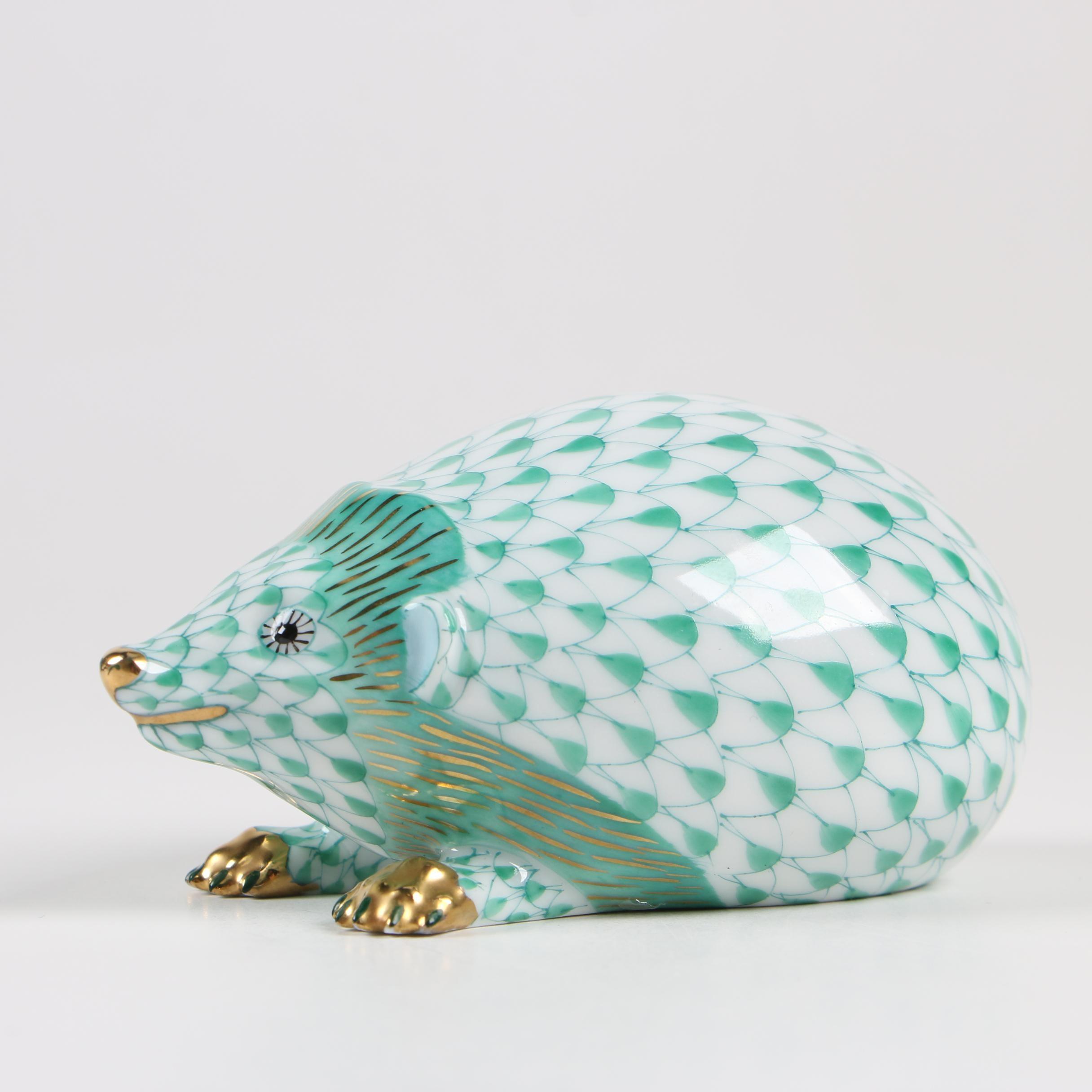 """Herend Green Fishnet """"Hedgehog"""" Porcelain Figurine, 1994"""
