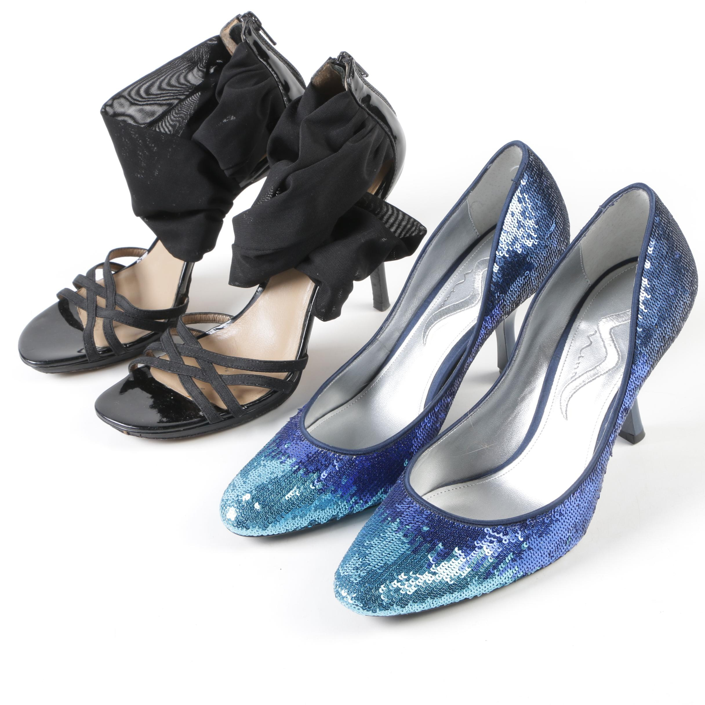 Nina Blue Sequin Pumps and Donald J Pliner Black Mesh and Patent Leather Sandals