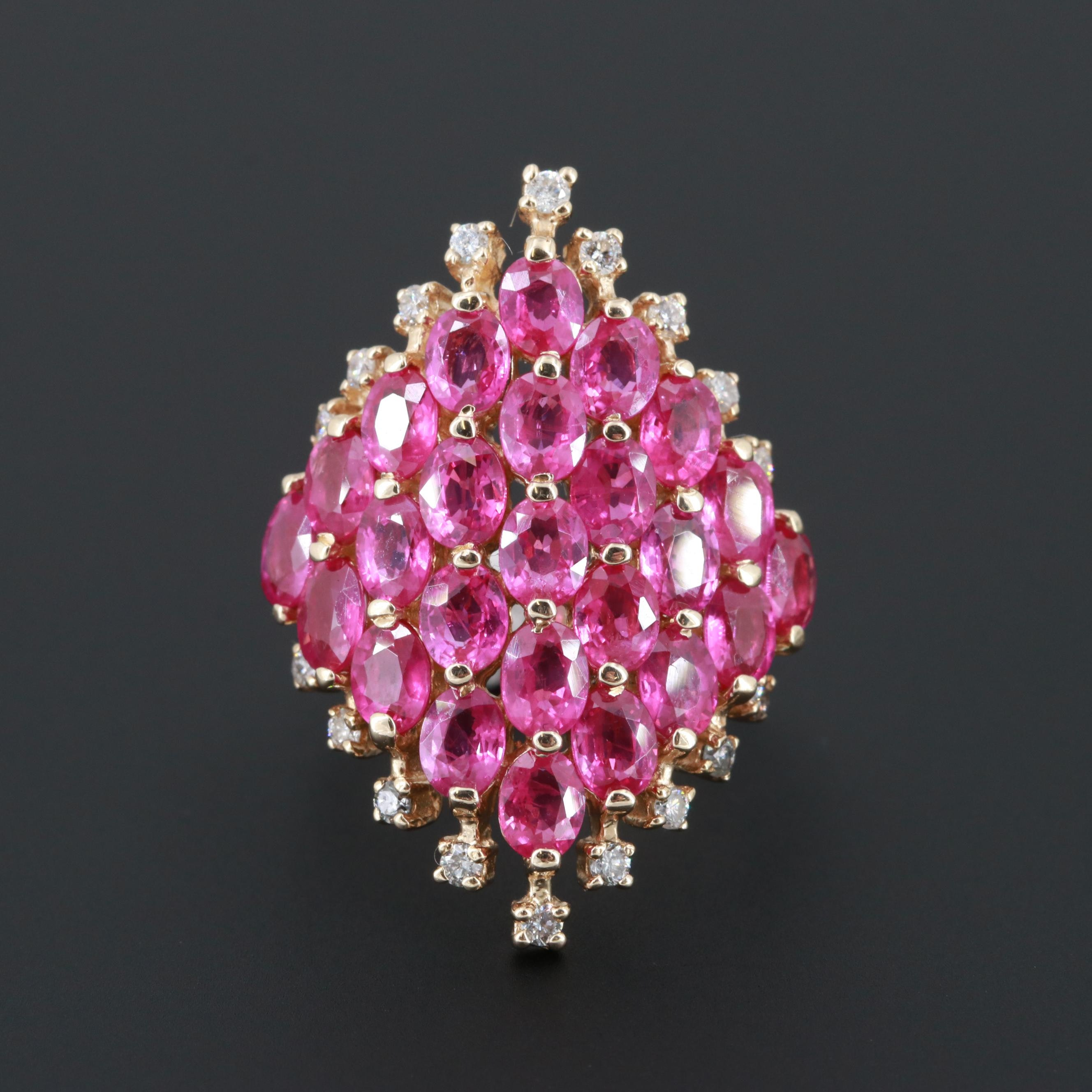 Effy 14K Yellow Gold Ruby and Diamond Ring