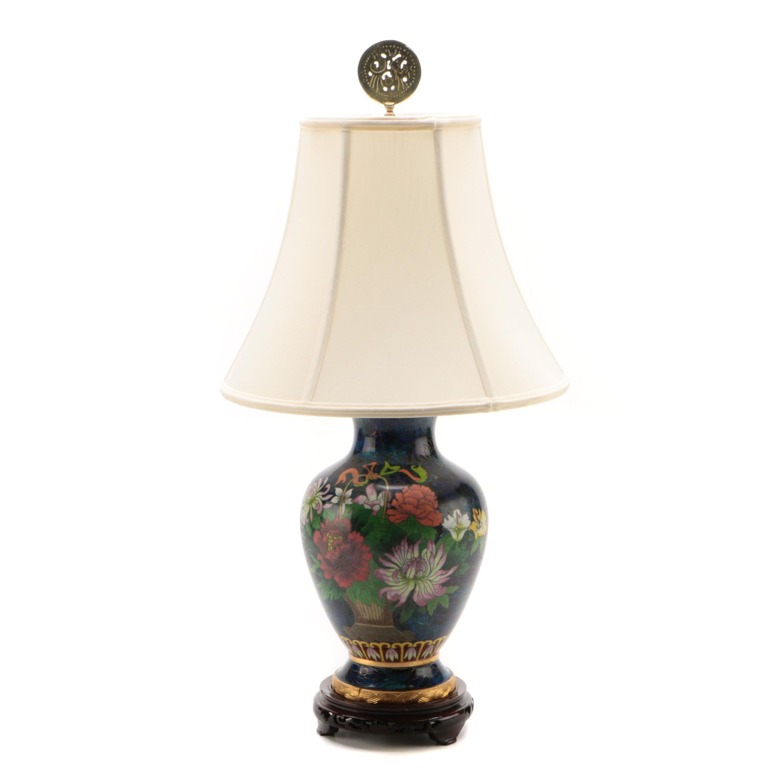 Chinese Cloisonné Converted Vase Table Lamp with Silk Shade