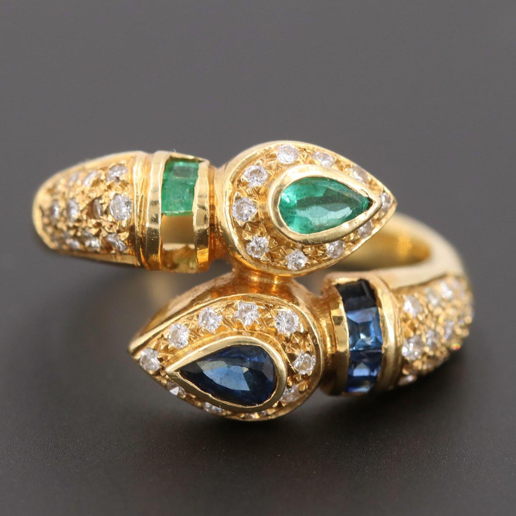 18K Yellow Gold Blue Sapphire, Emerald, and Diamond Ring