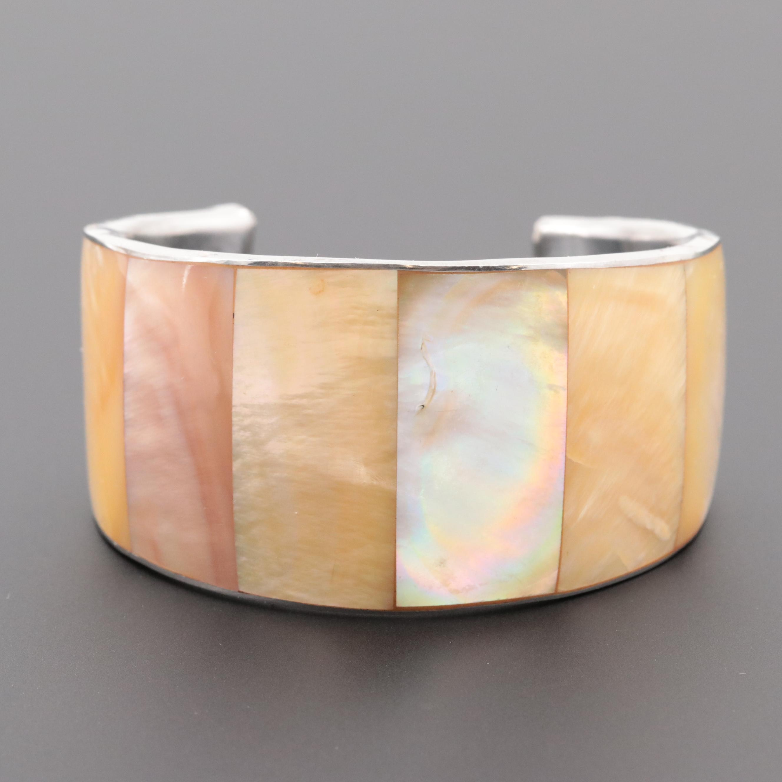 Silver Tone Mother of Pearl Cuff Bracelet