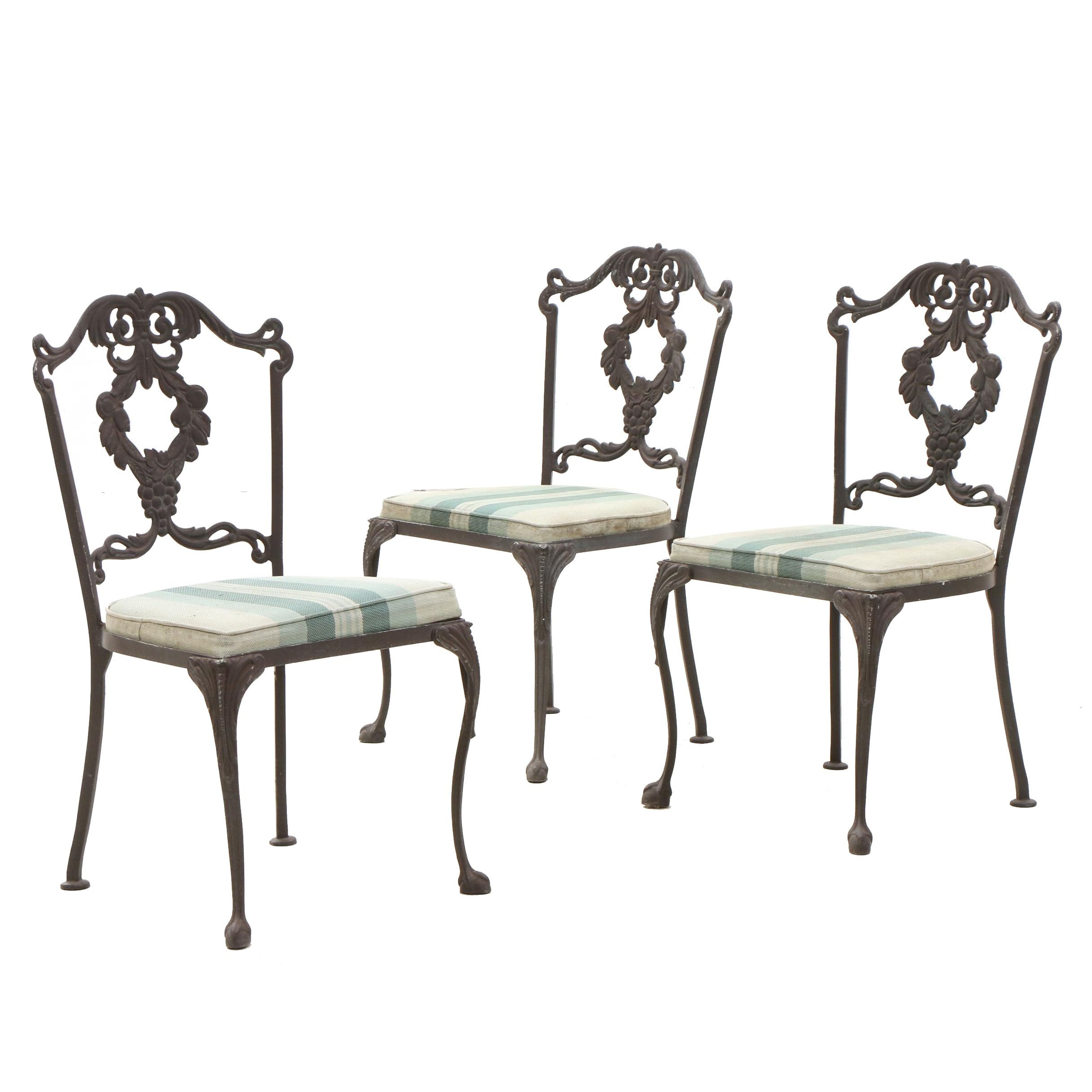 Chippendale Style Cast Iron Patio Chairs with Seat Cushions, Circa 1940s
