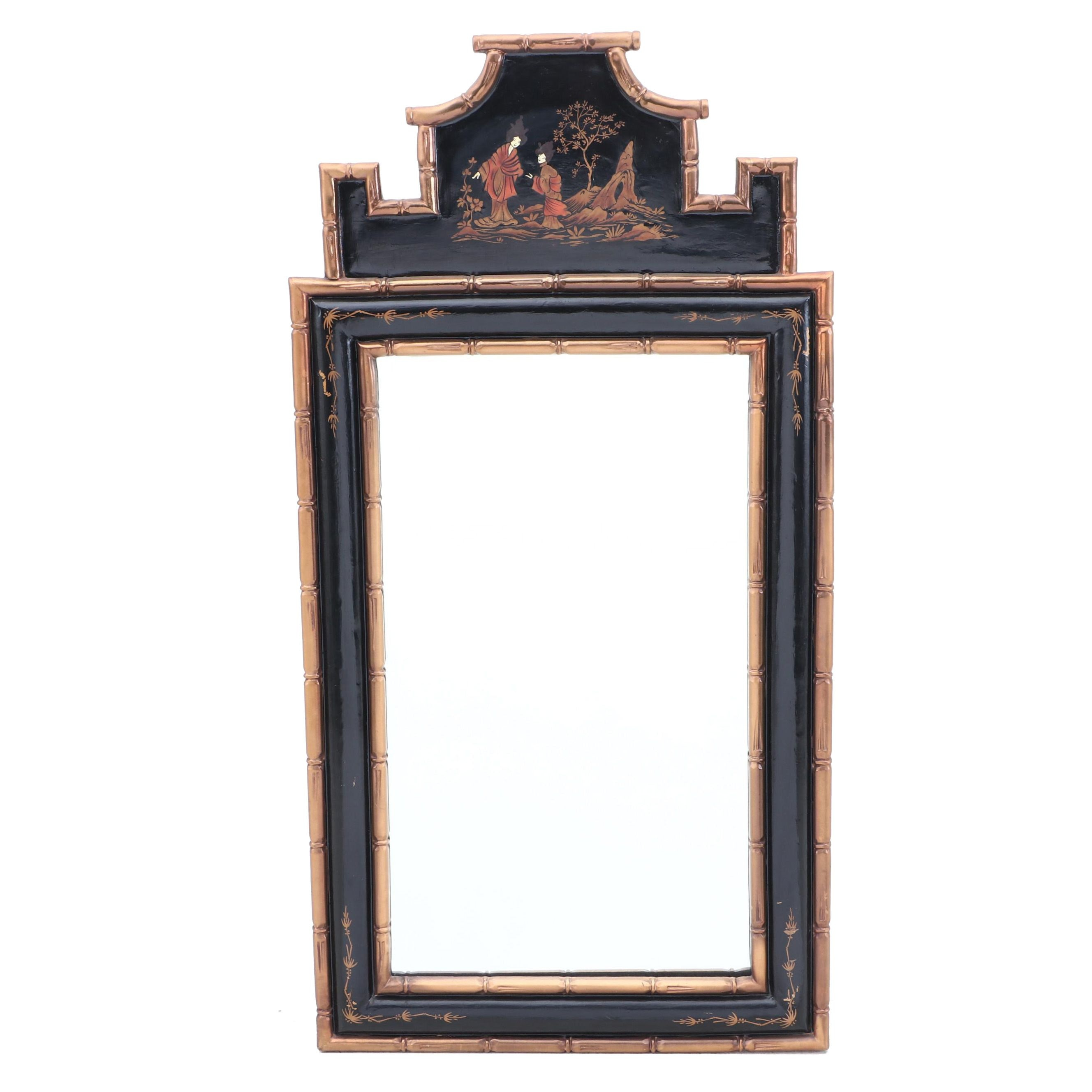Black Lacquer and Gilt Asian Motif Wall Mirror