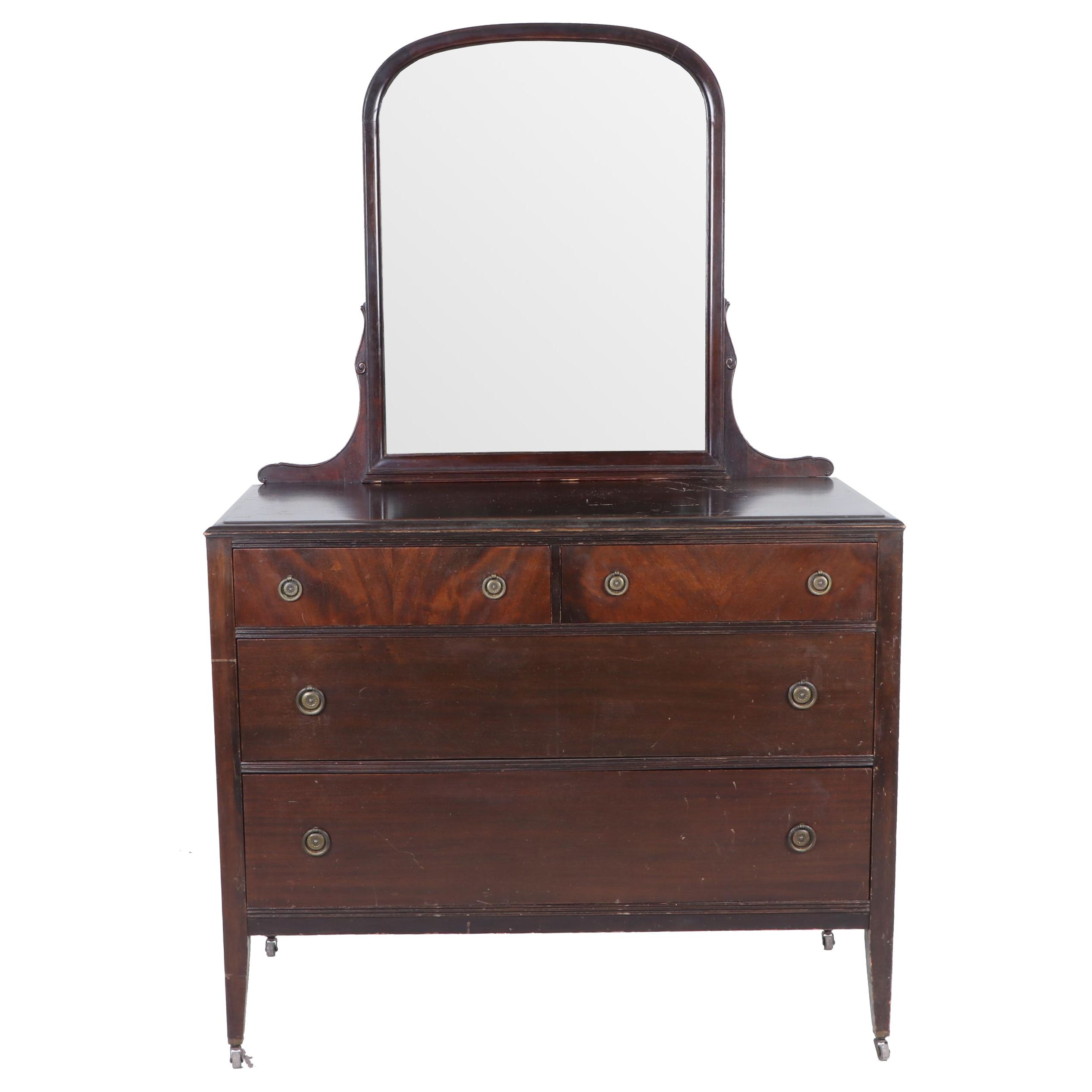 Paine Furniture Company Mahogany Finish Dresser with Mirror, Early 20th Century