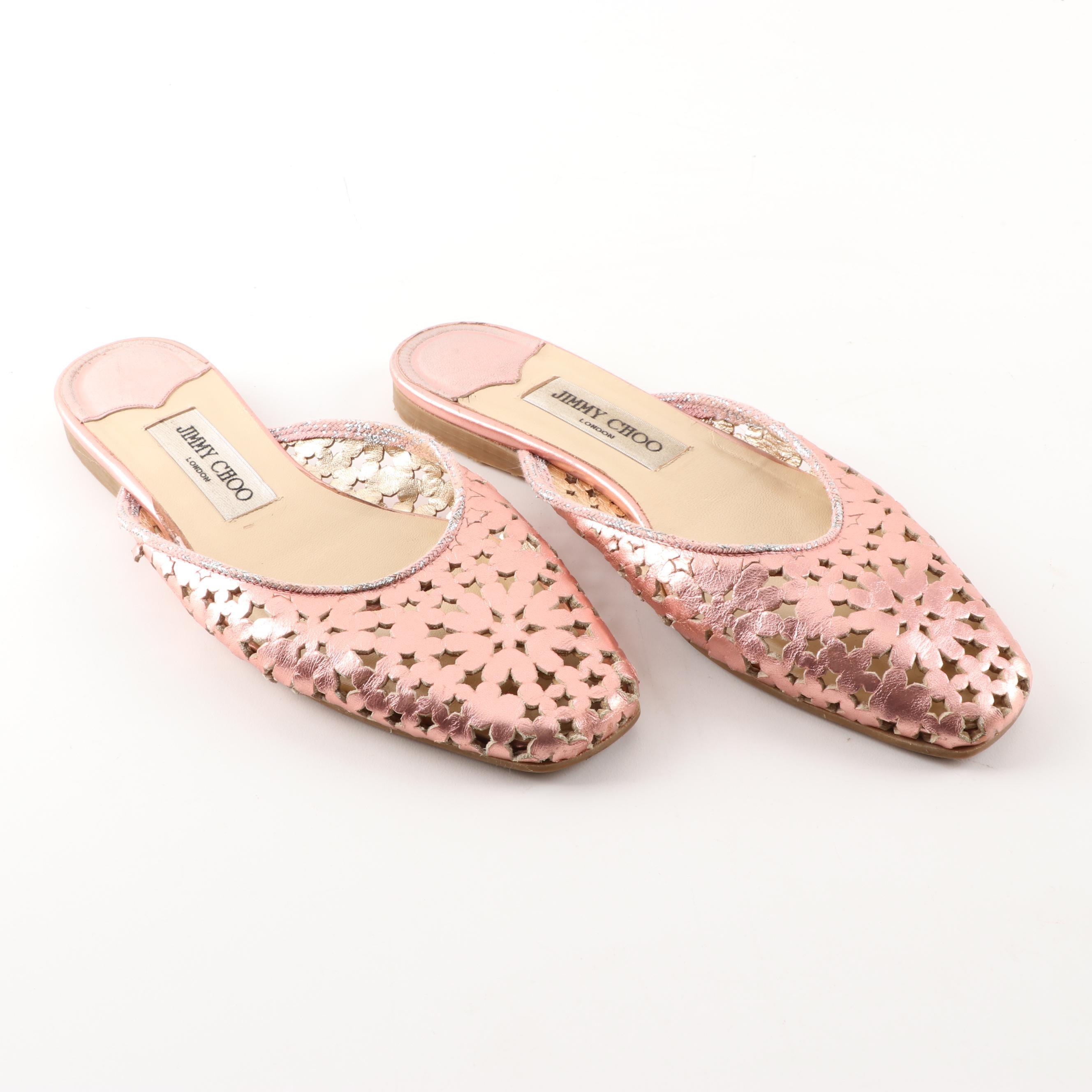 Women's Jimmy Choo London Pink Metallic Leather Slides