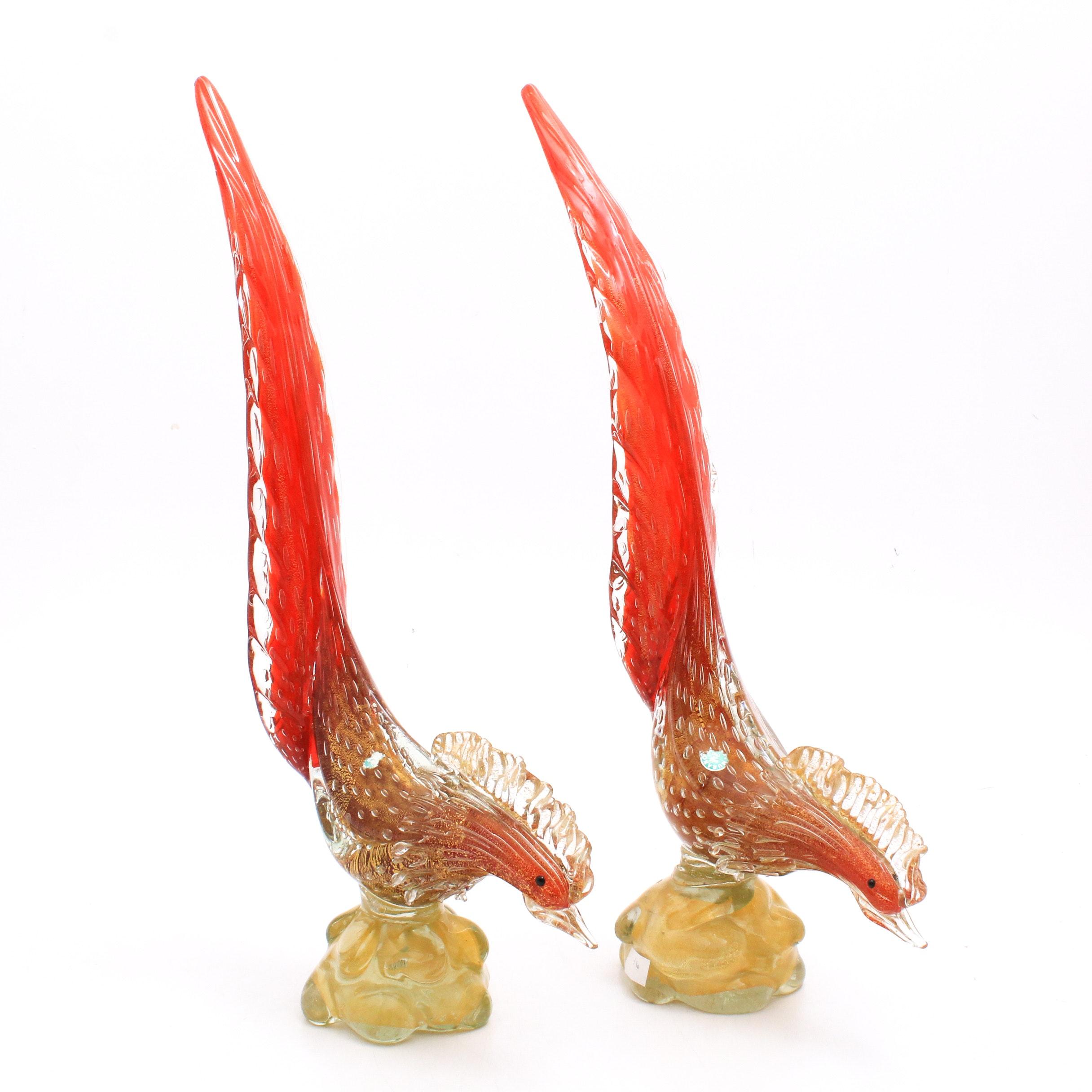 Italian Murano Art Glass Roosters