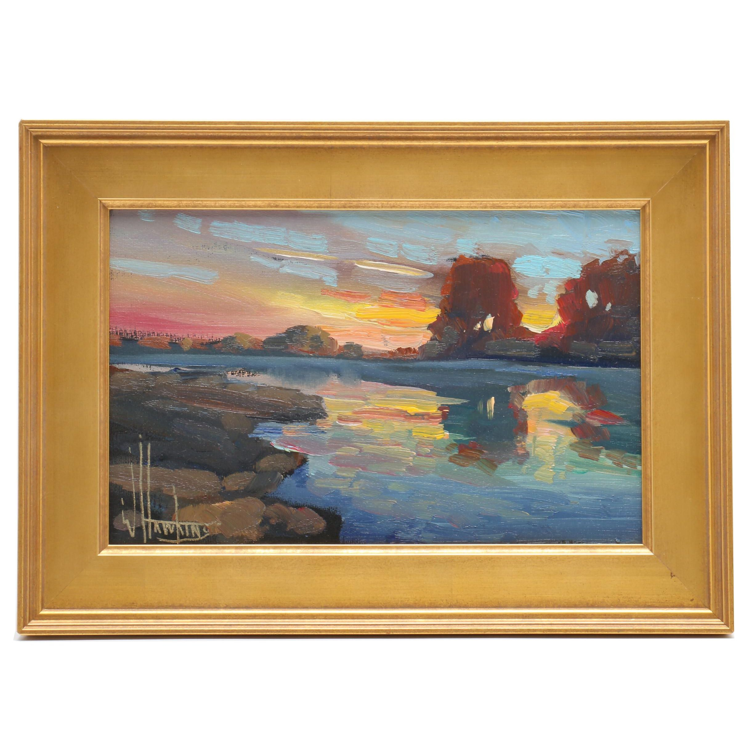 William Hawkins Landscape Oil Painting