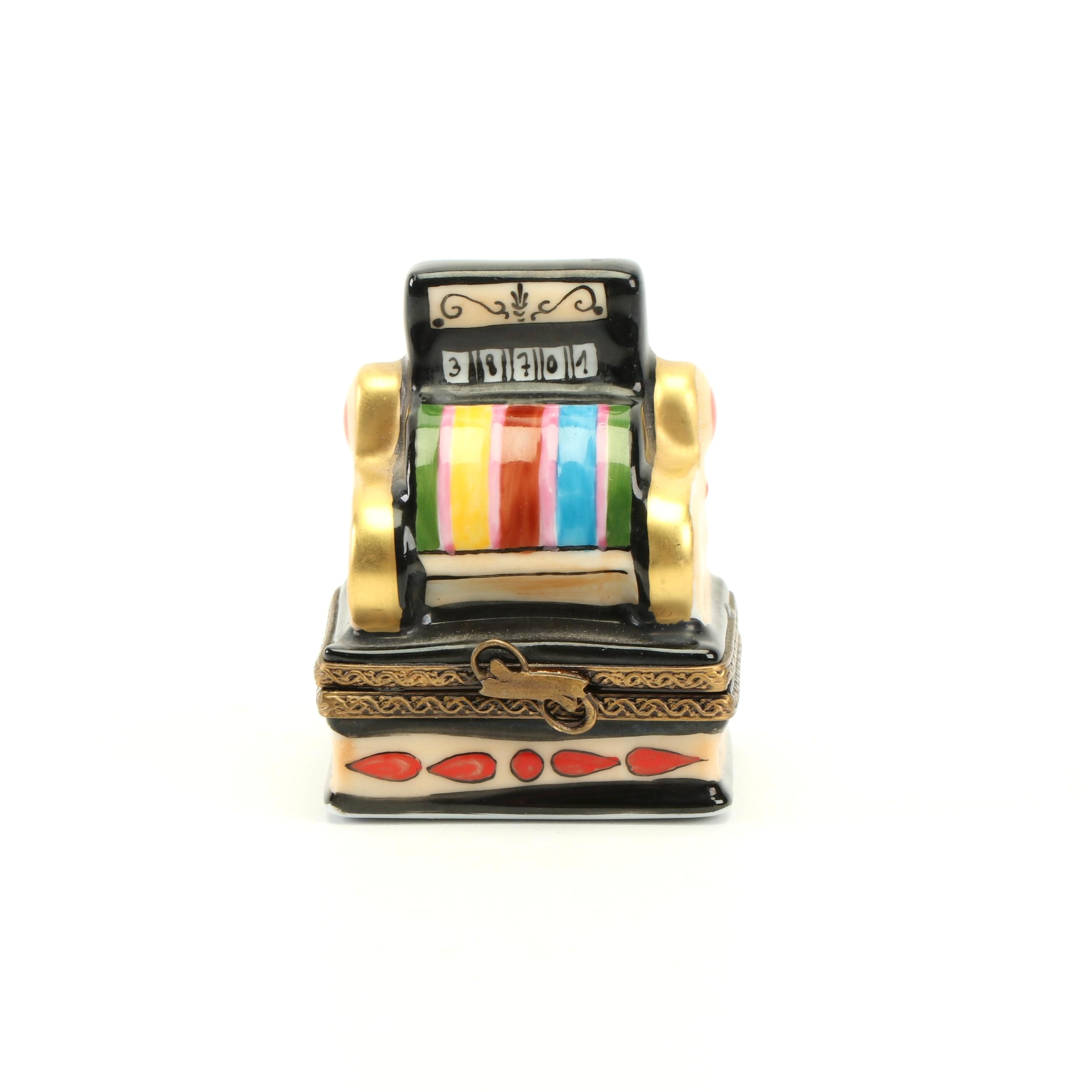 Limoges Hand-Painted Porcelain Cash Register Trinket Box