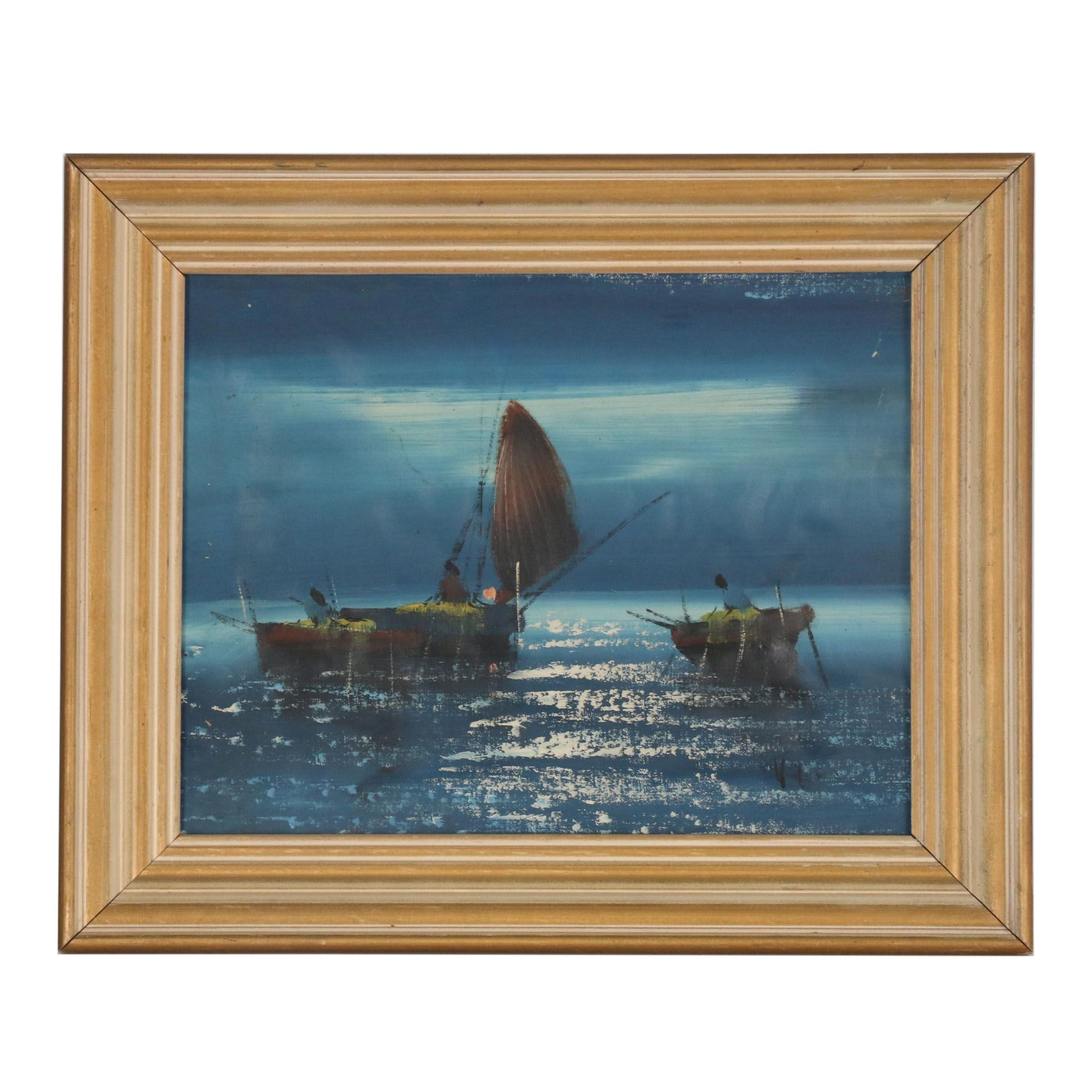 Mid 20th Century Nautical Oil Painting