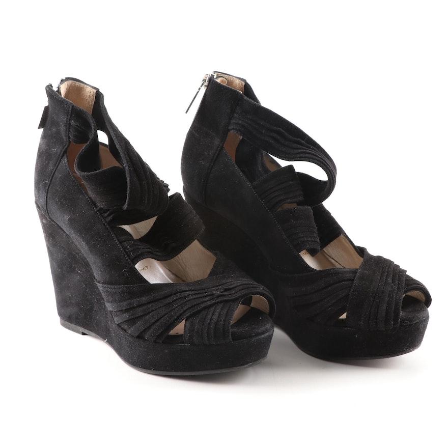 f85c95dfbe9 Women s Bruno Magli Black Suede Open Toe Platform Wedge Sandals   EBTH