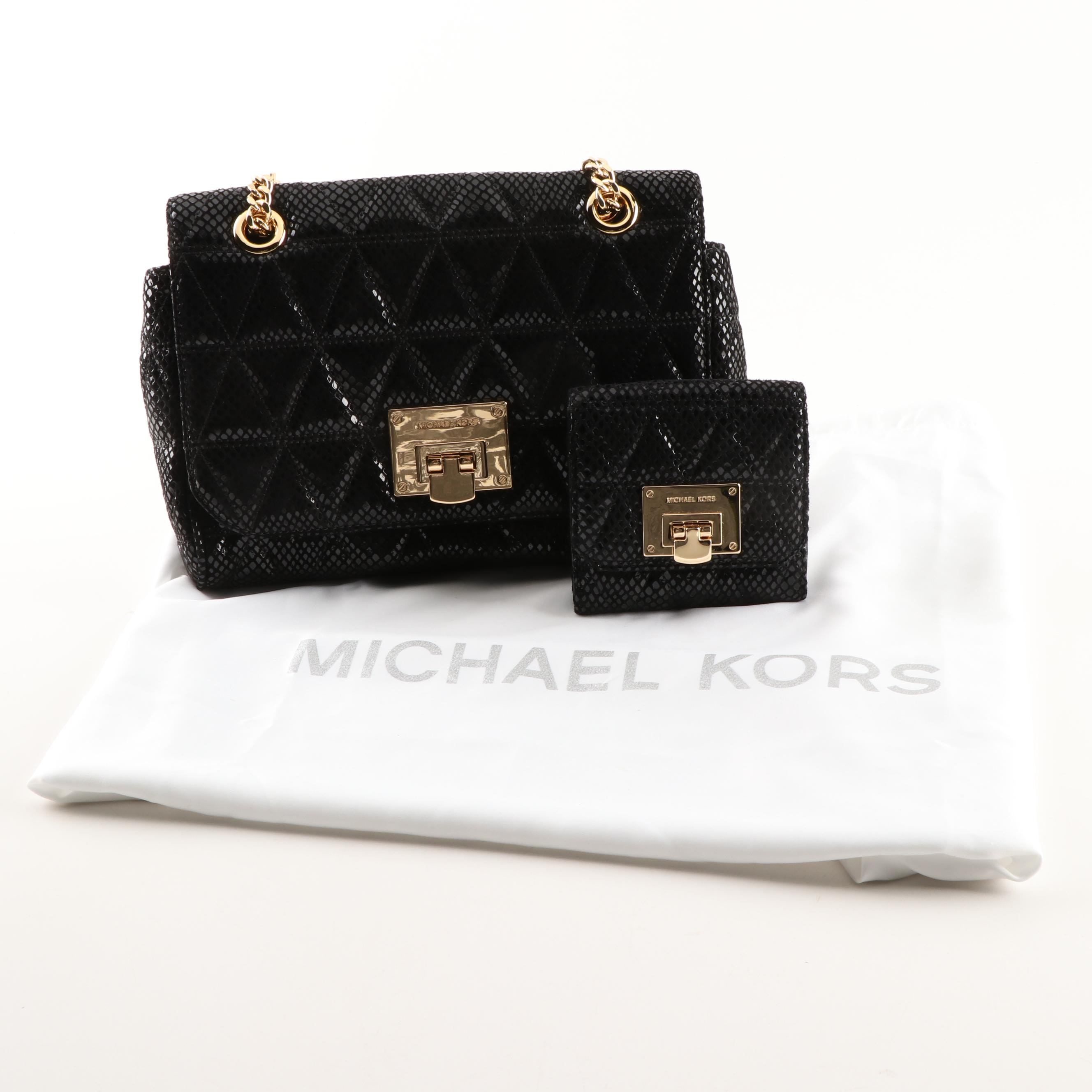 Michael Kors Printed Black Leather Shoulder Bag with Matching Coin Wallet
