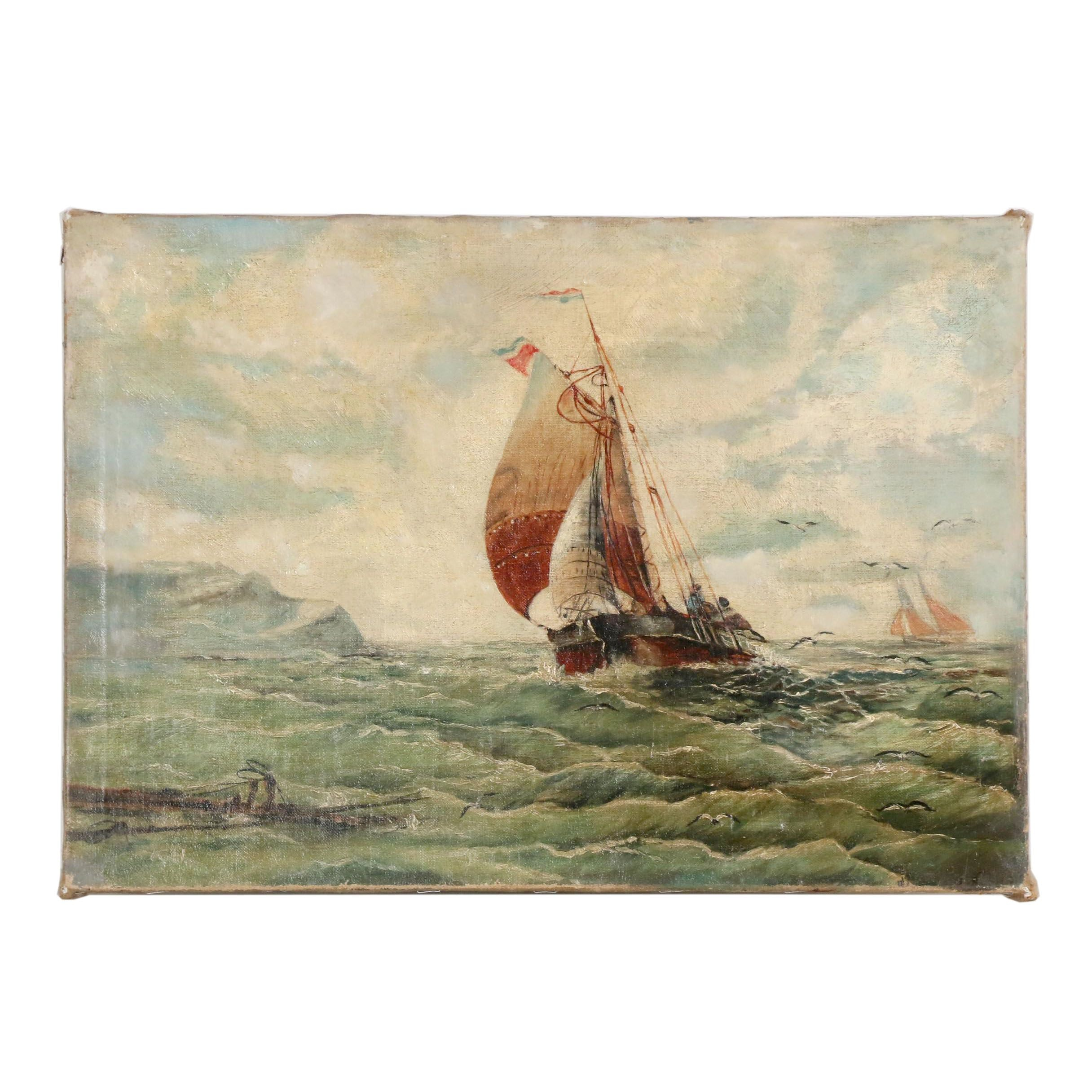 19th Century Nautical Oil OilPainting