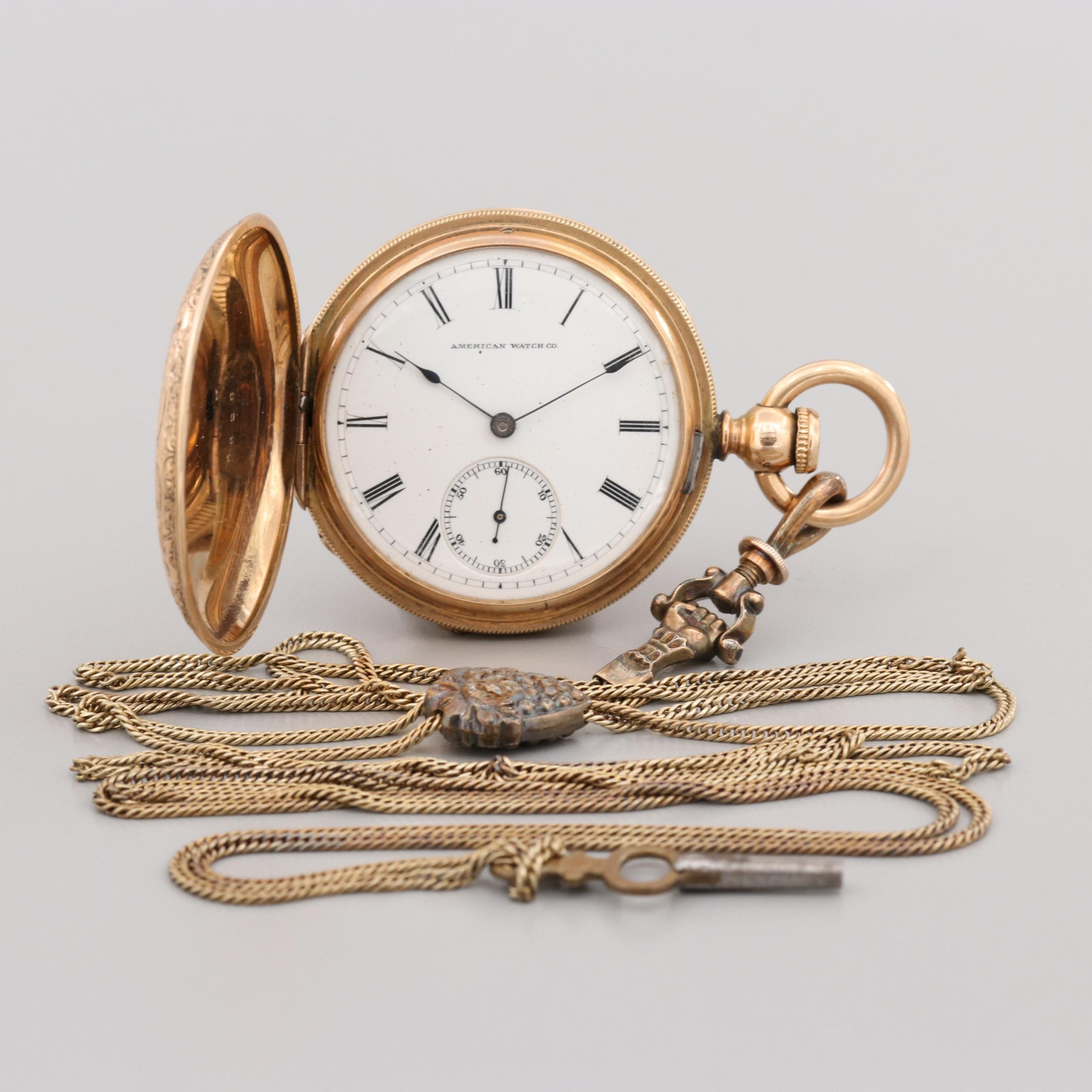 Antique Waltham Pocket Watch With 10K Yellow Gold and Brass Fob Chain