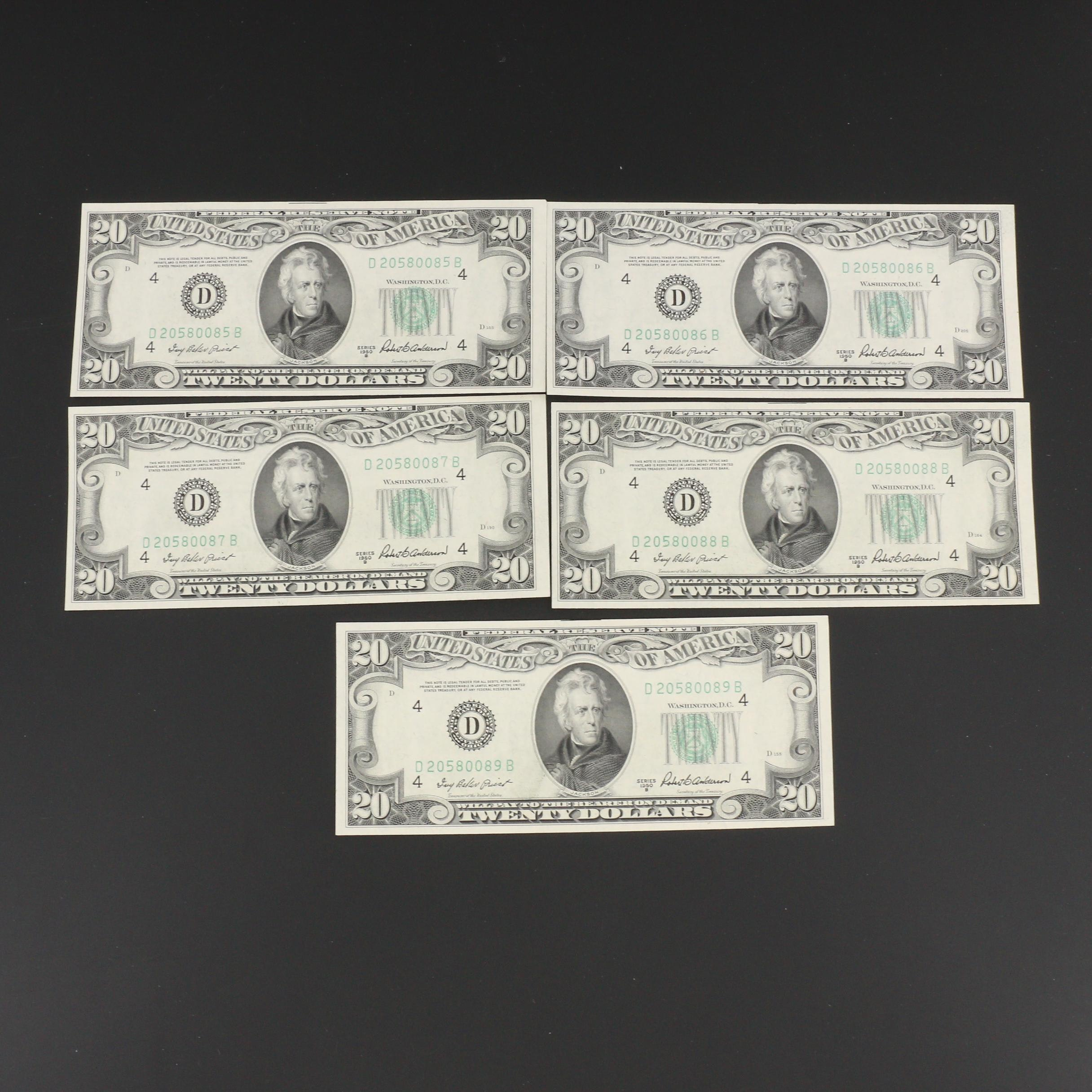 Five Consecutively Numbered Series of 1950B $20 Federal Reserve Notes