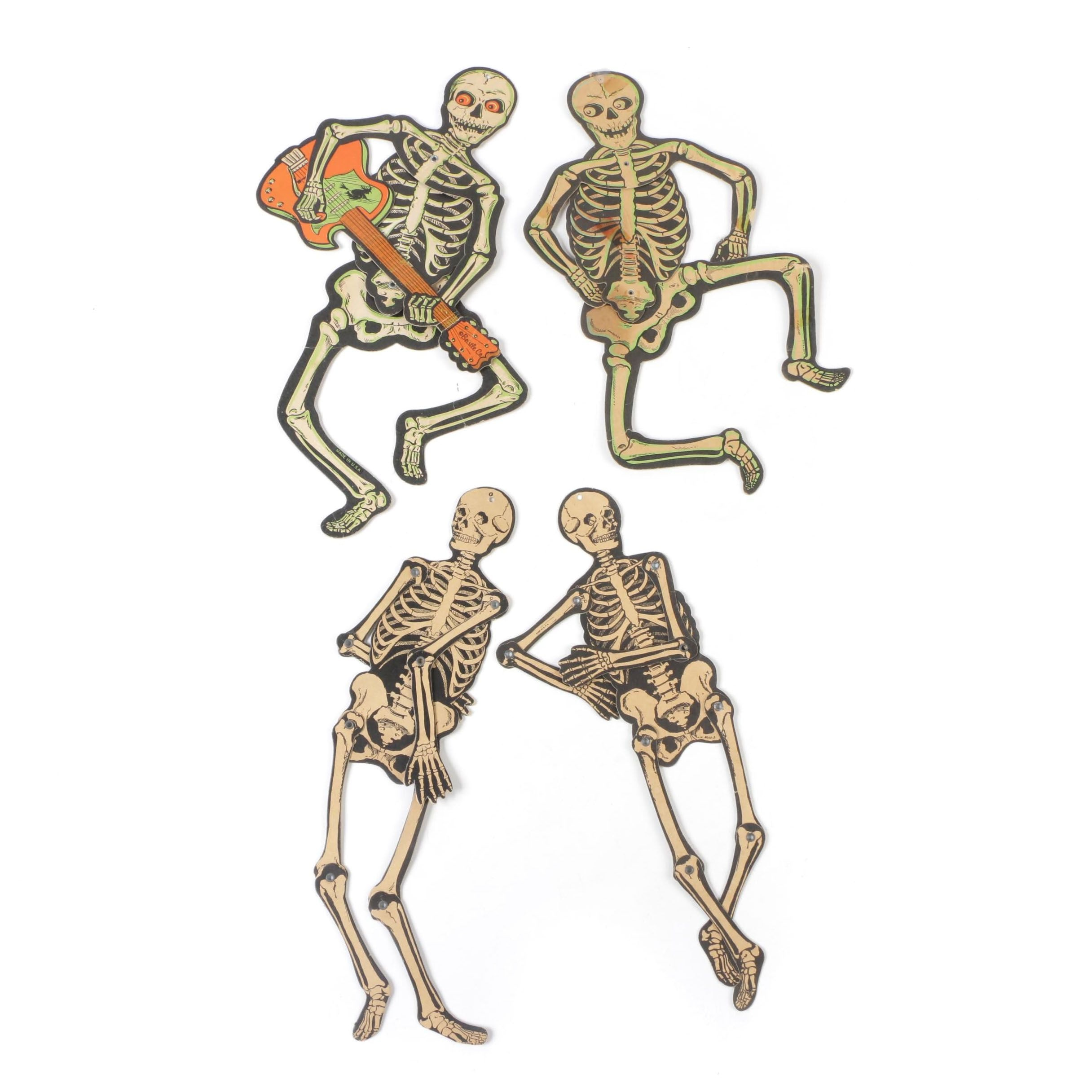Beistle Jointed Cardboard Skeleton Halloween Decorations, Mid-Century