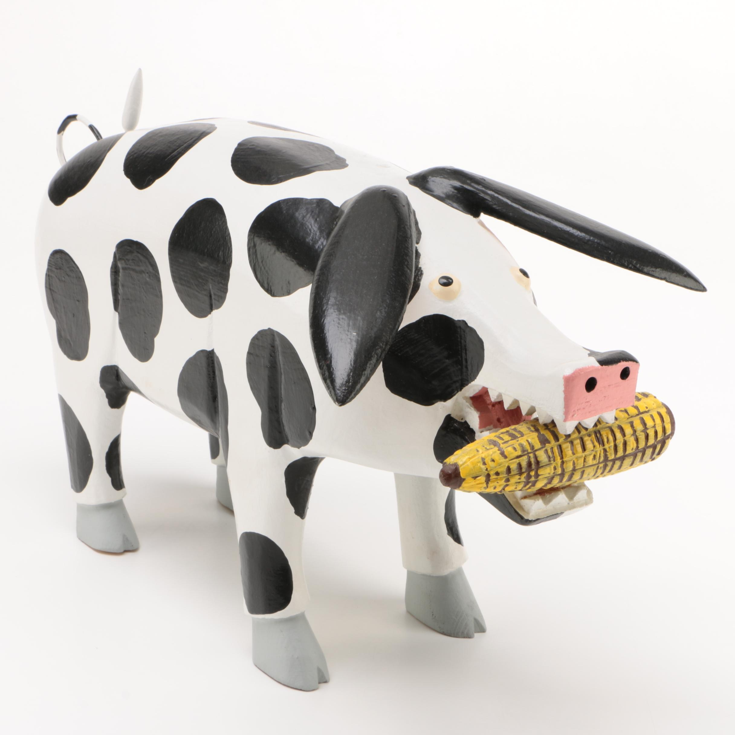 Signed Artisan Crafted Hand-Painted Wooden Folk Art Spotted Pig