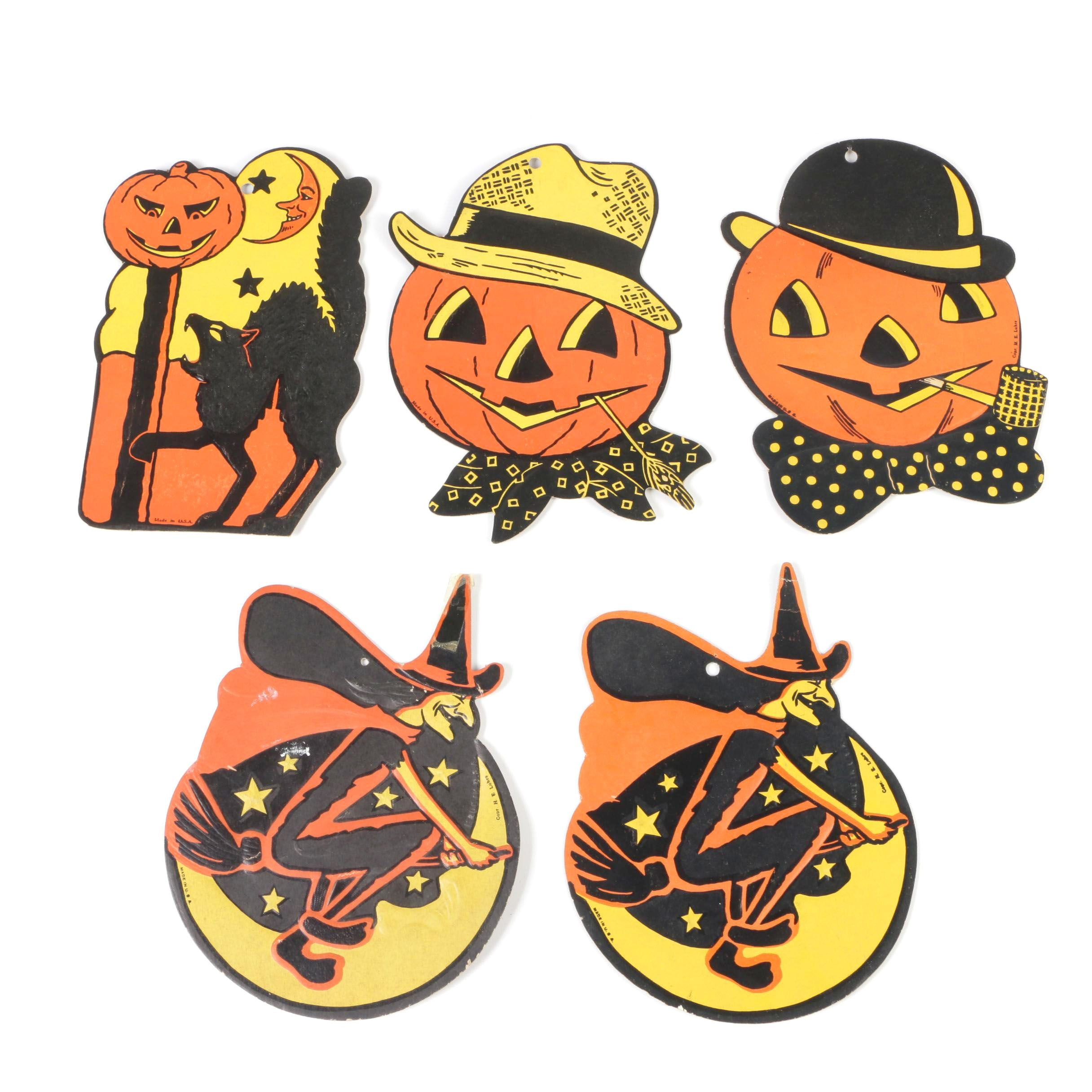 H. E. Luhrs Pressed Cardboard Halloween Wall Decorations, Mid-Century