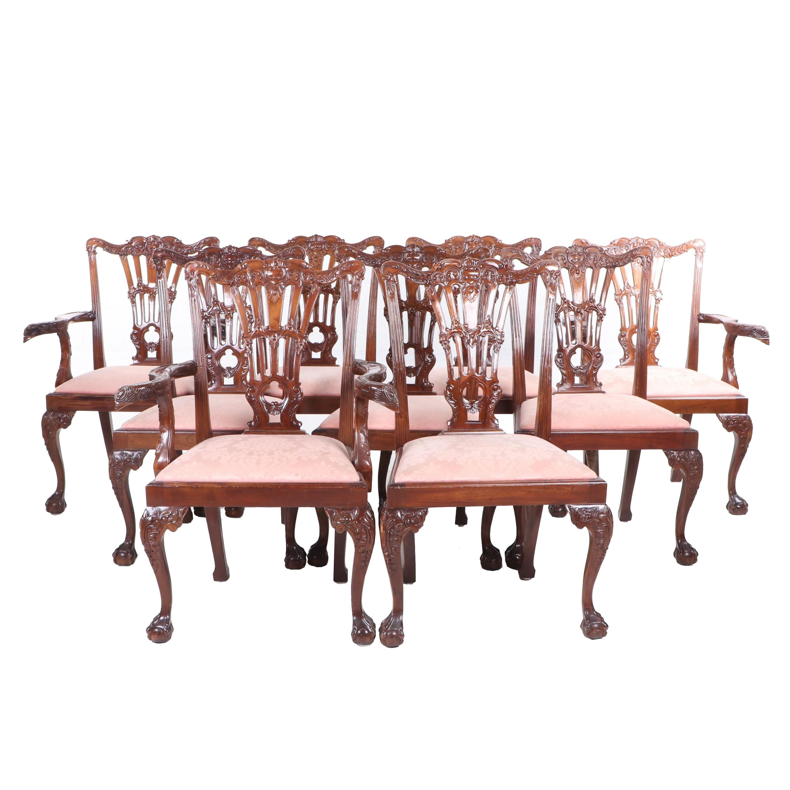 Chippendale Style Mahogany Dining Chairs, Mid to Late 20th Century