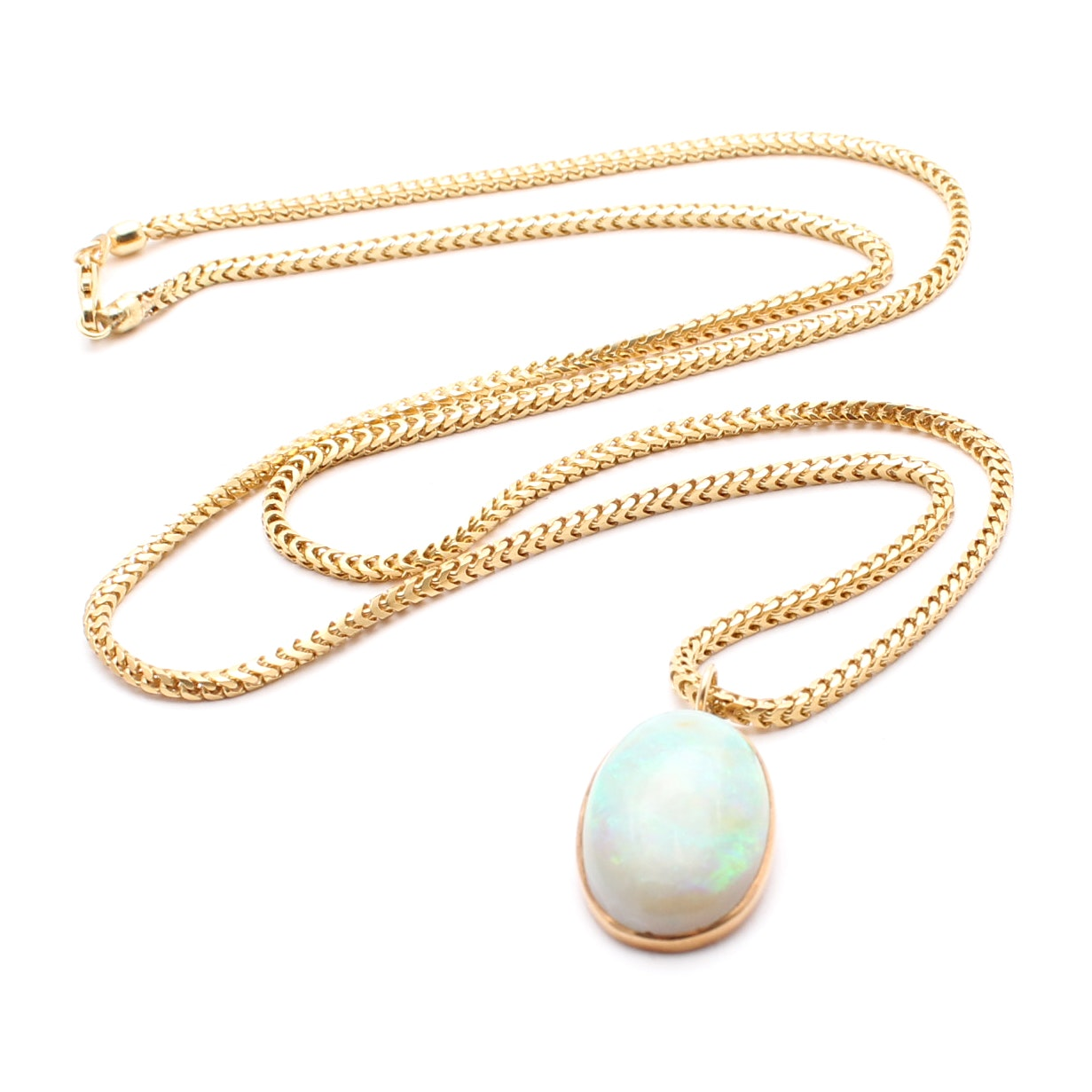 18K Yellow Gold Necklace Chain with 14K Yellow Gold Opal Pendant