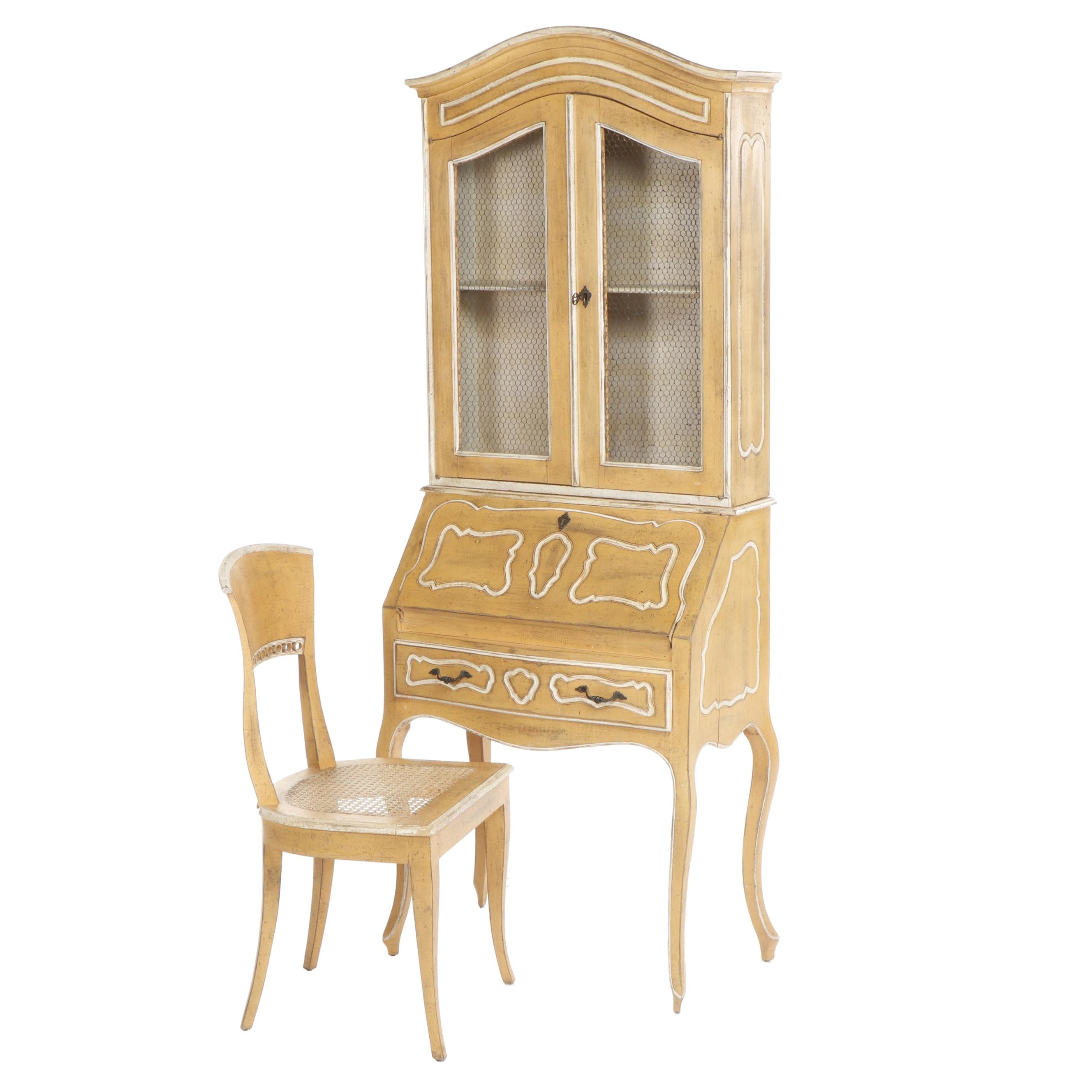 Queen Anne Style Wooden Fold Down Secretary Desk and Chair